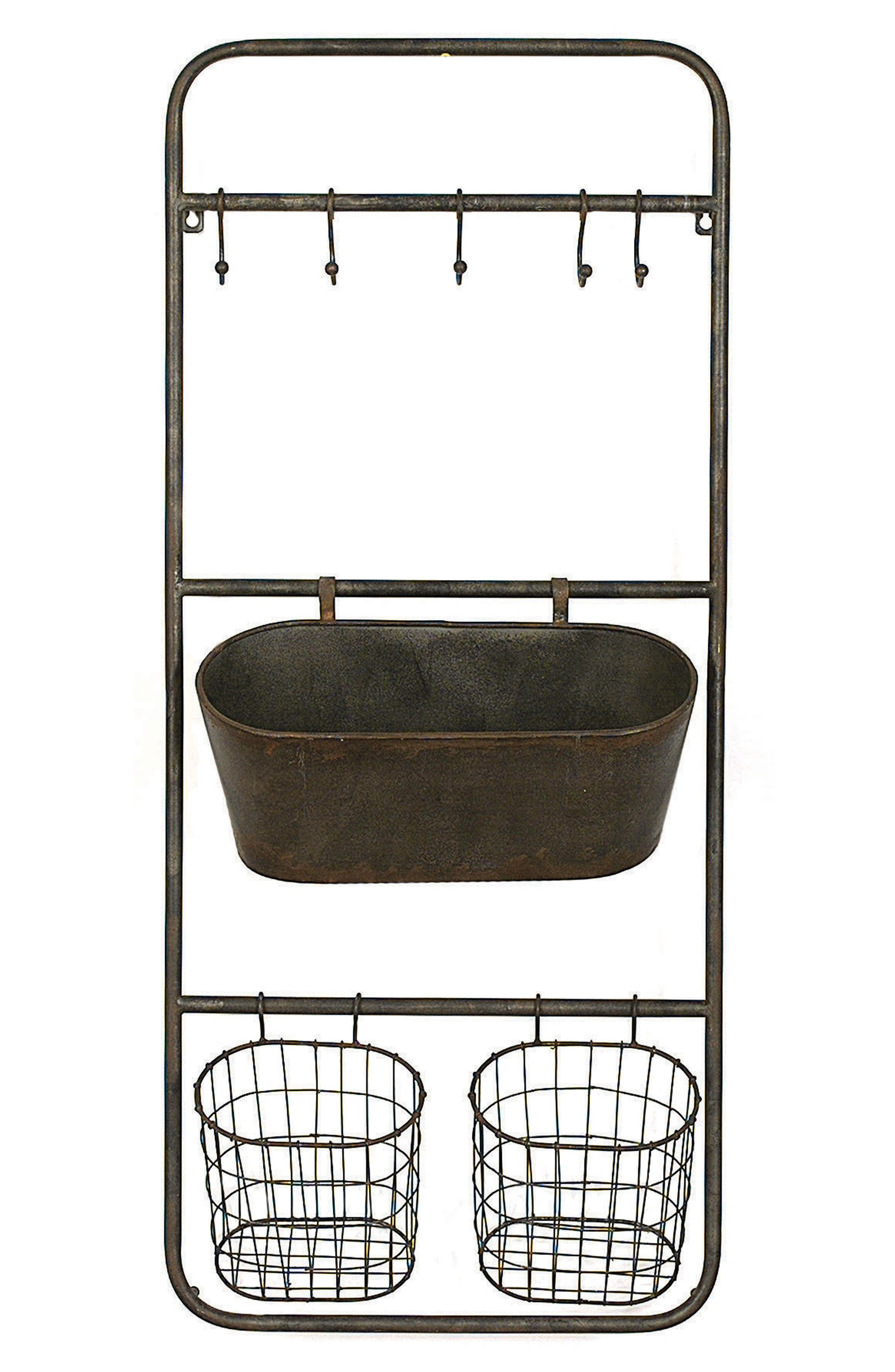 Wall Storage With Hooks & Baskets,                         Main,                         color, Brown