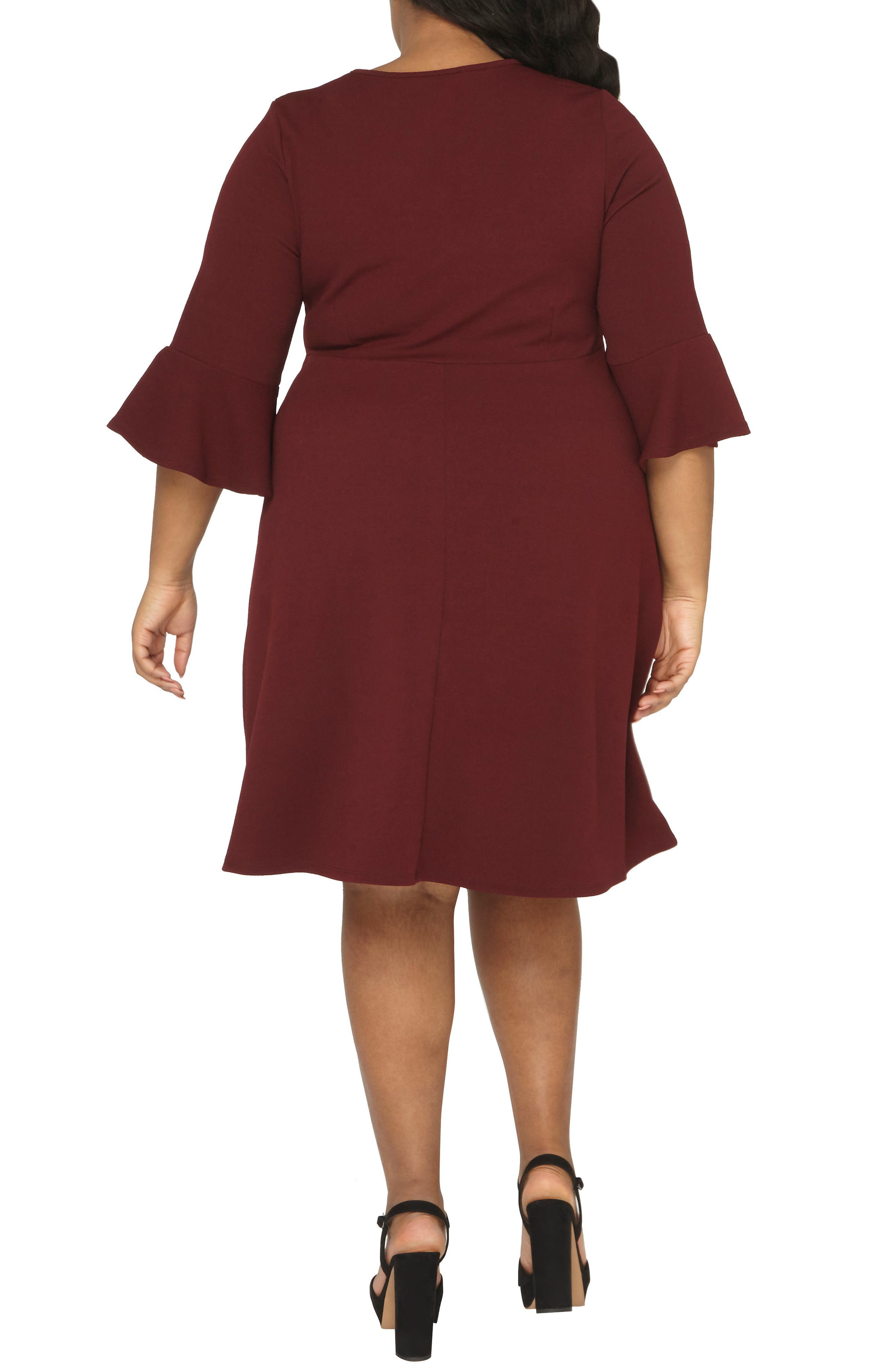 Ruffle Sleeve Fitted Dress,                             Alternate thumbnail 2, color,                             Wine