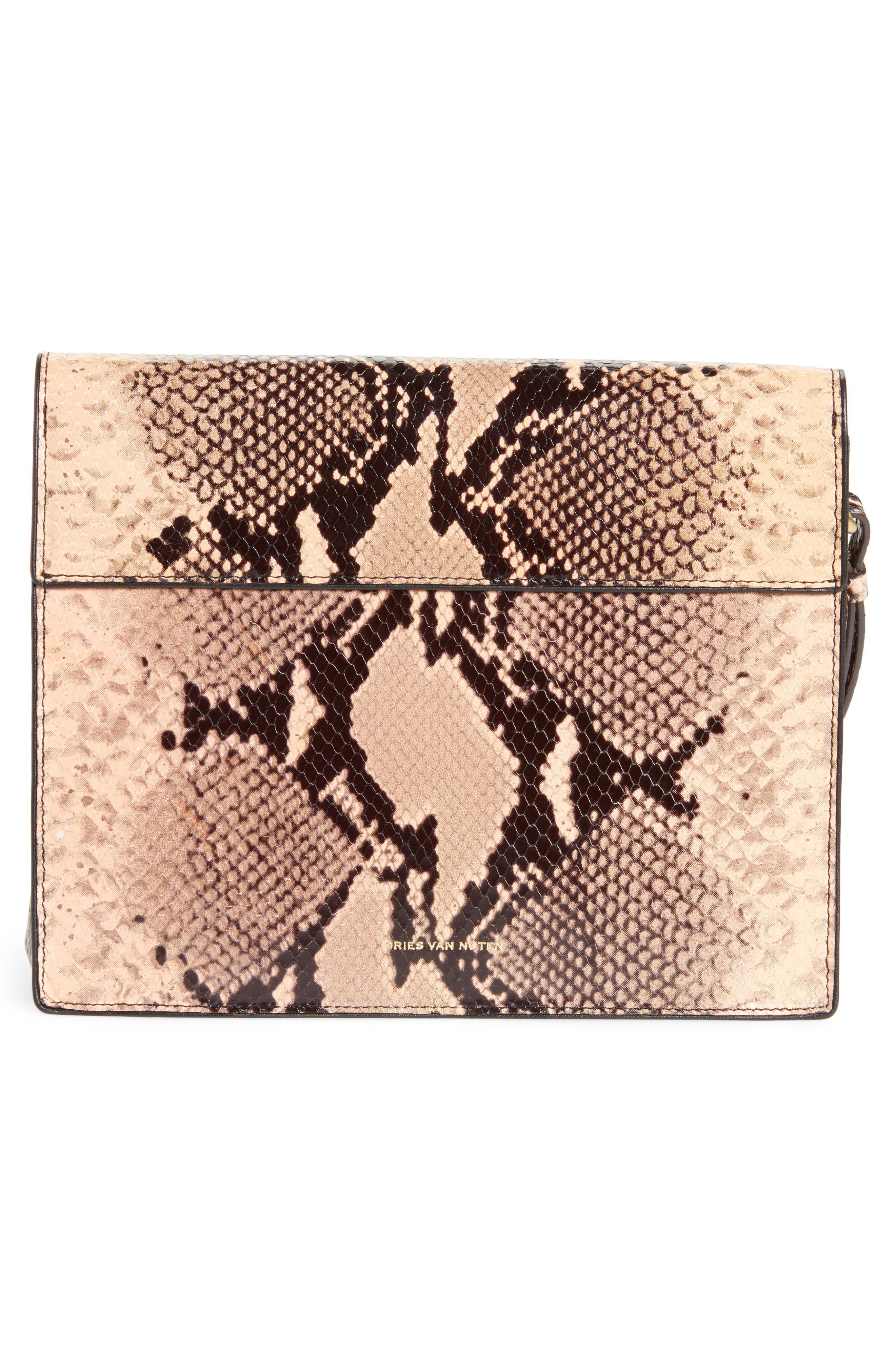 Snake Embossed Leather Wristlet Clutch,                             Alternate thumbnail 3, color,                             Camel