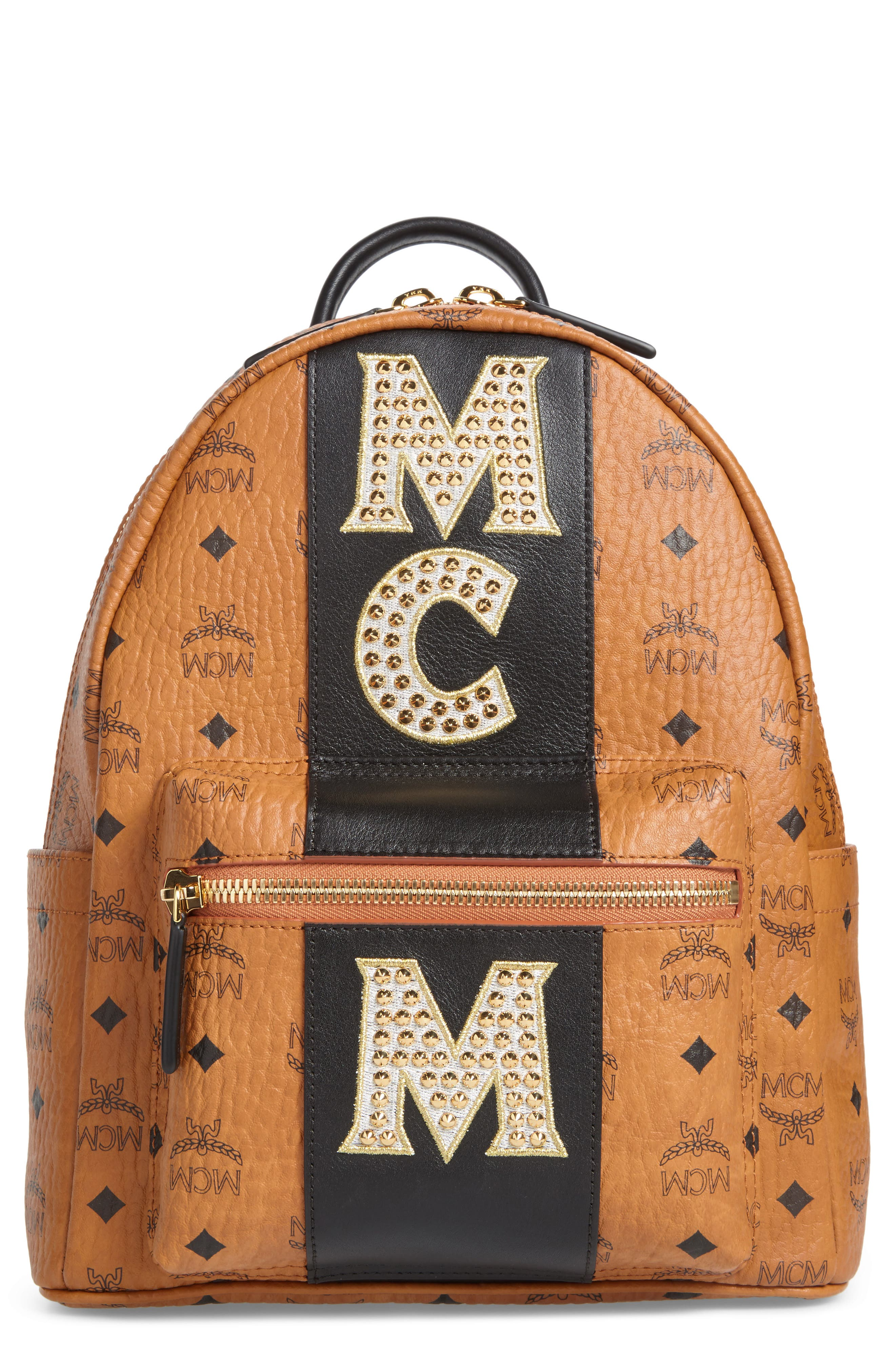 MCM Stark Stripe Studs Coated Canvas Backpack