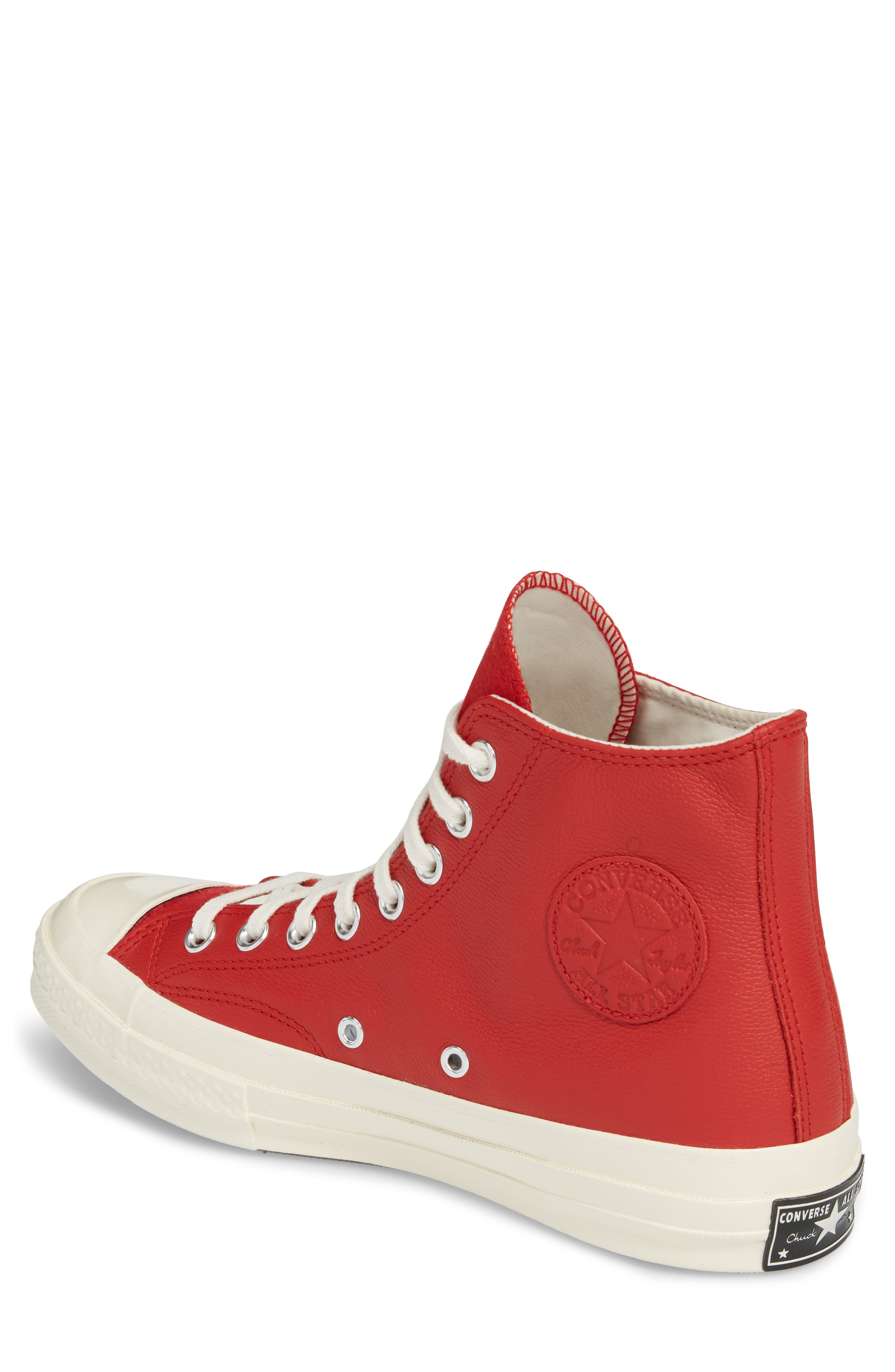 Chuck Taylor<sup>®</sup> All Star<sup>®</sup> Wordmark High Top Sneaker,                             Alternate thumbnail 2, color,                             Enamel Red Leather