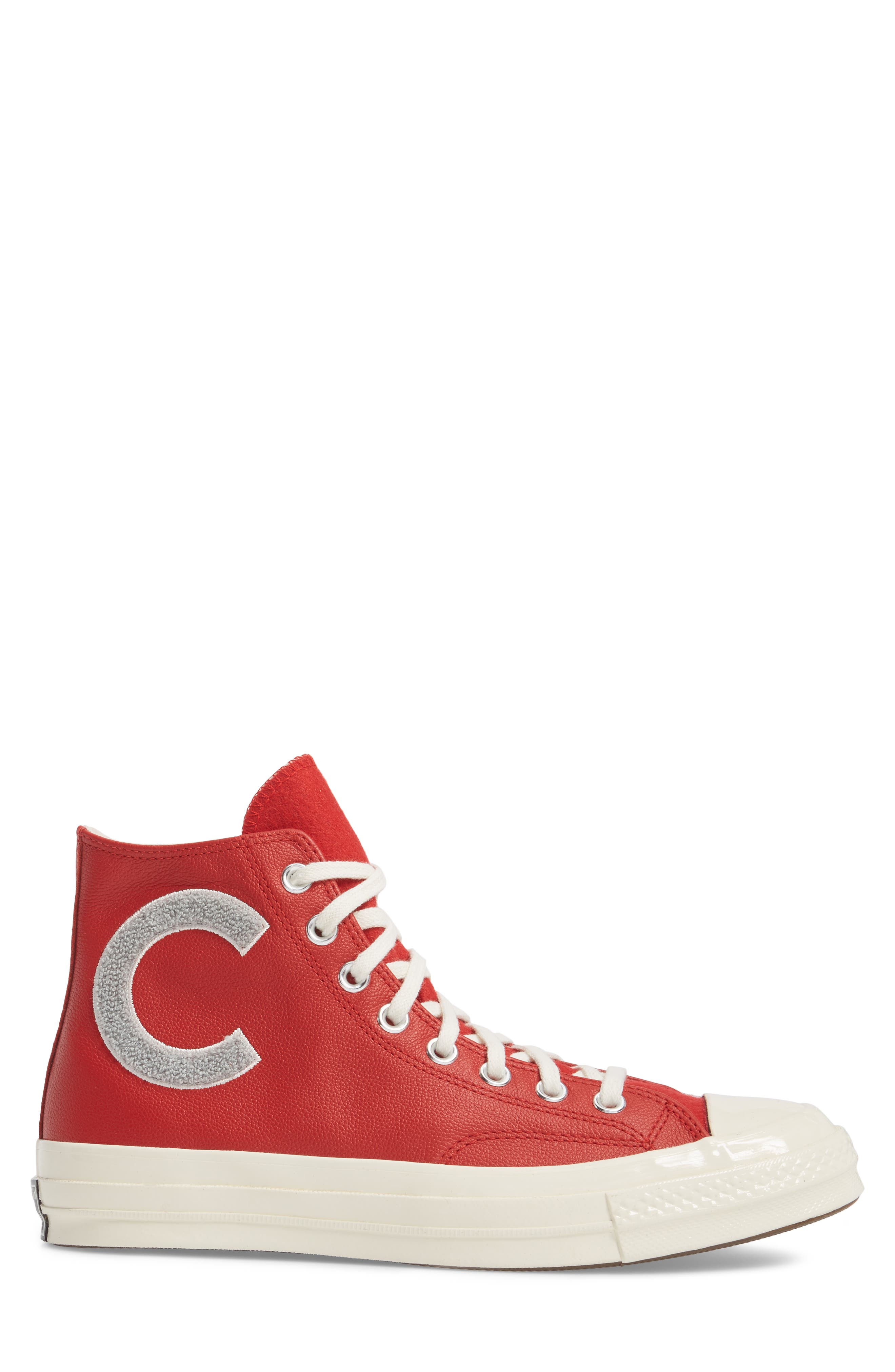 Chuck Taylor<sup>®</sup> All Star<sup>®</sup> Wordmark High Top Sneaker,                             Alternate thumbnail 3, color,                             Enamel Red Leather