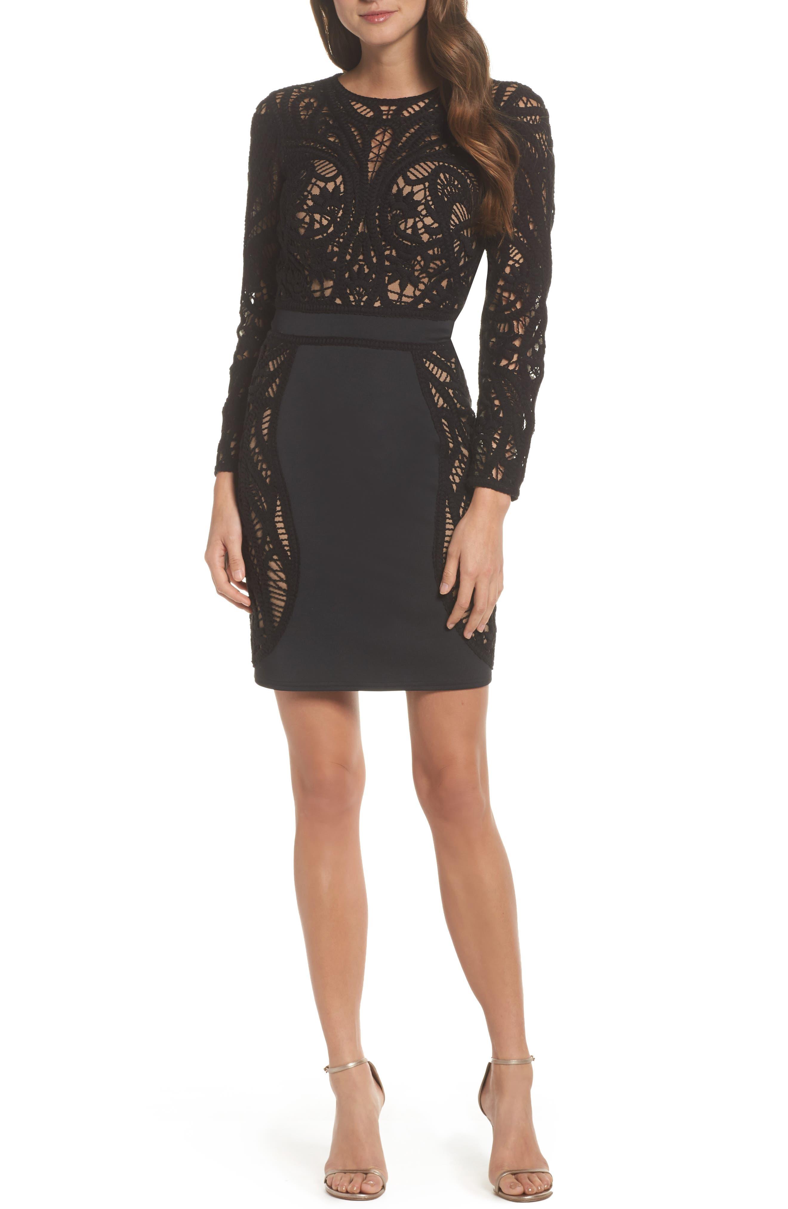 Crochet & Neoprene Dress,                         Main,                         color, Black/ Nude