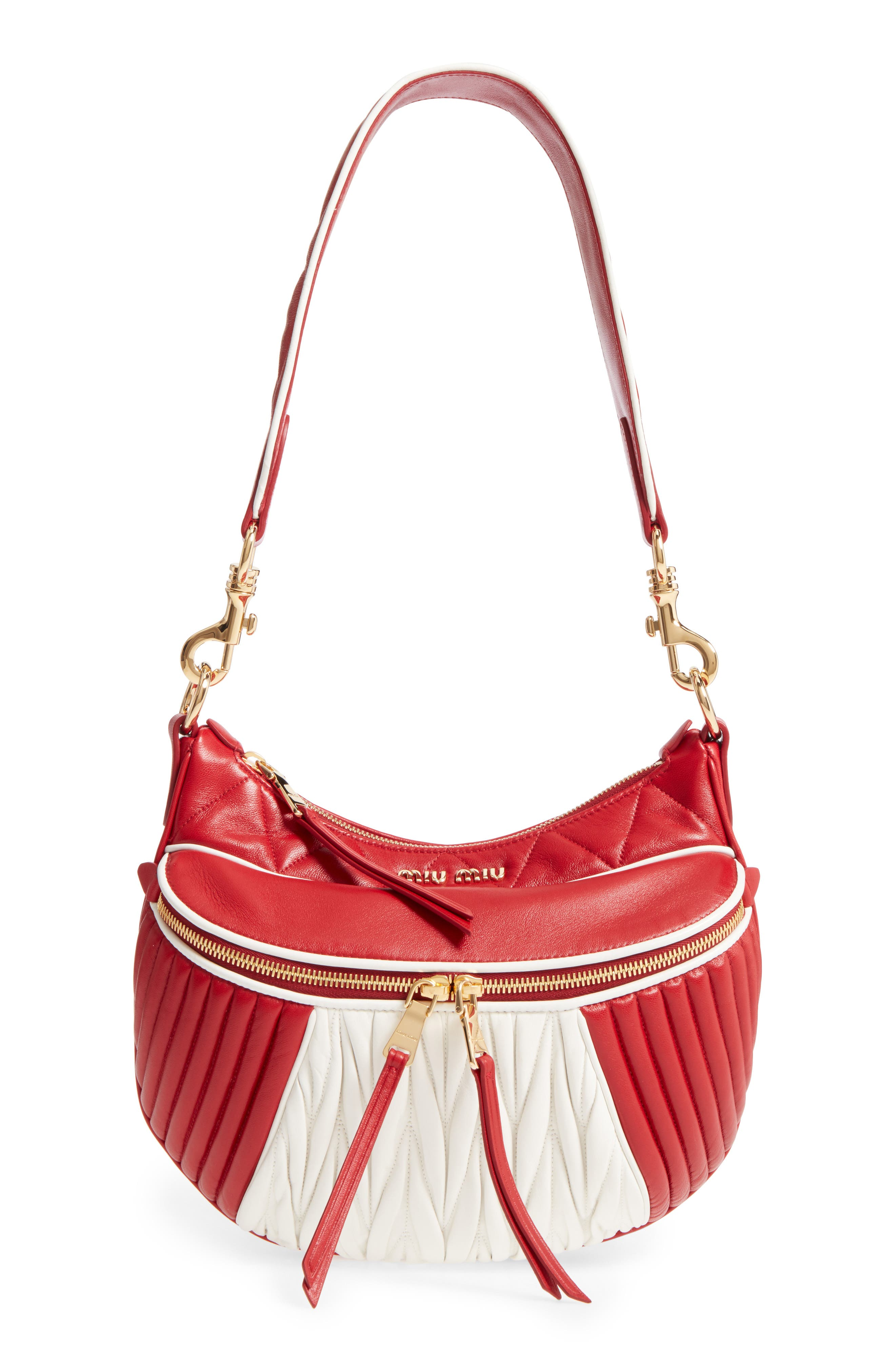 Small Rider Matelassé Leather Shoulder Bag,                         Main,                         color, Fuoco/ Bianco
