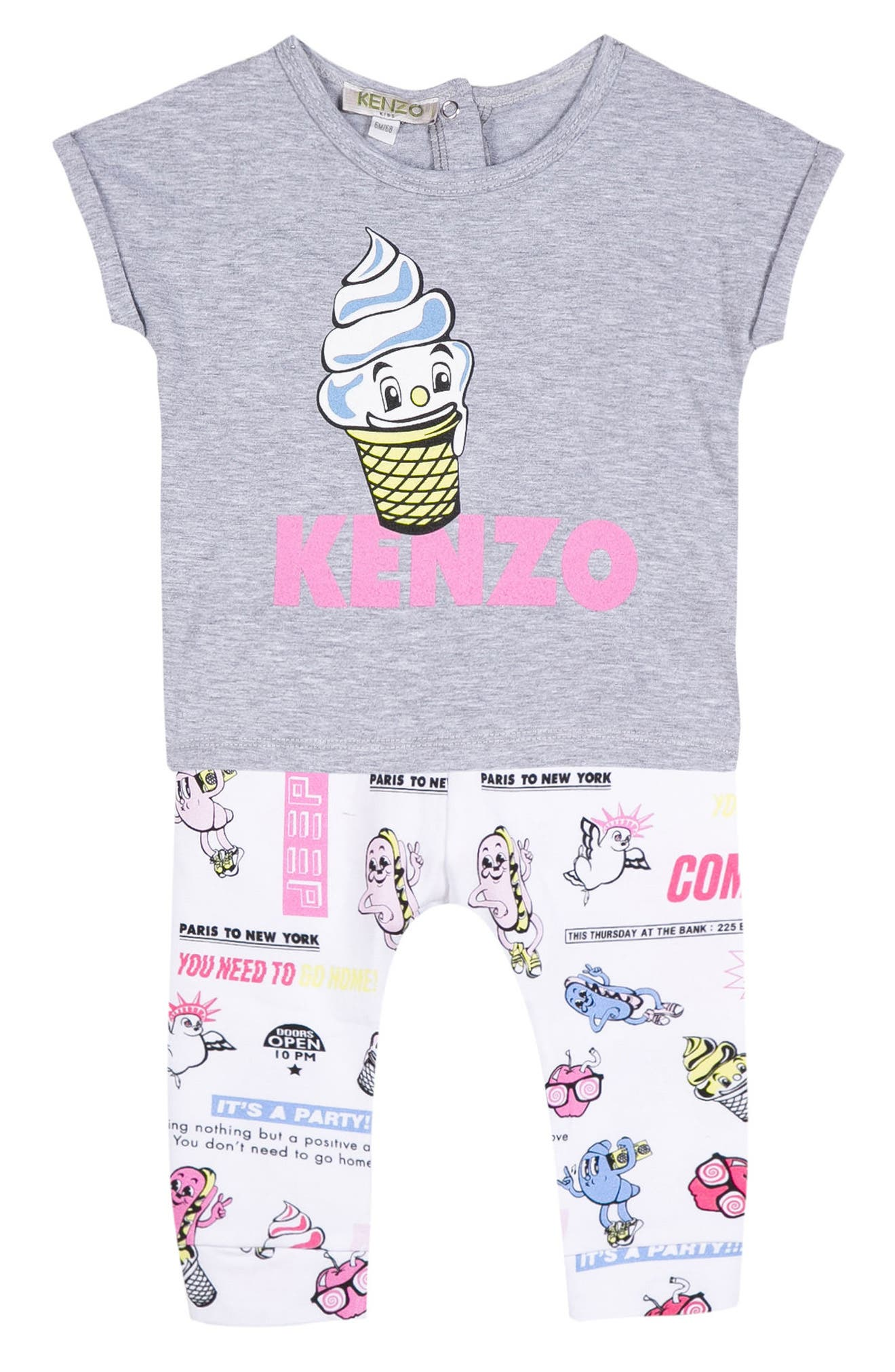 Ice Cream Tee & Leggings Set,                             Main thumbnail 1, color,                             White