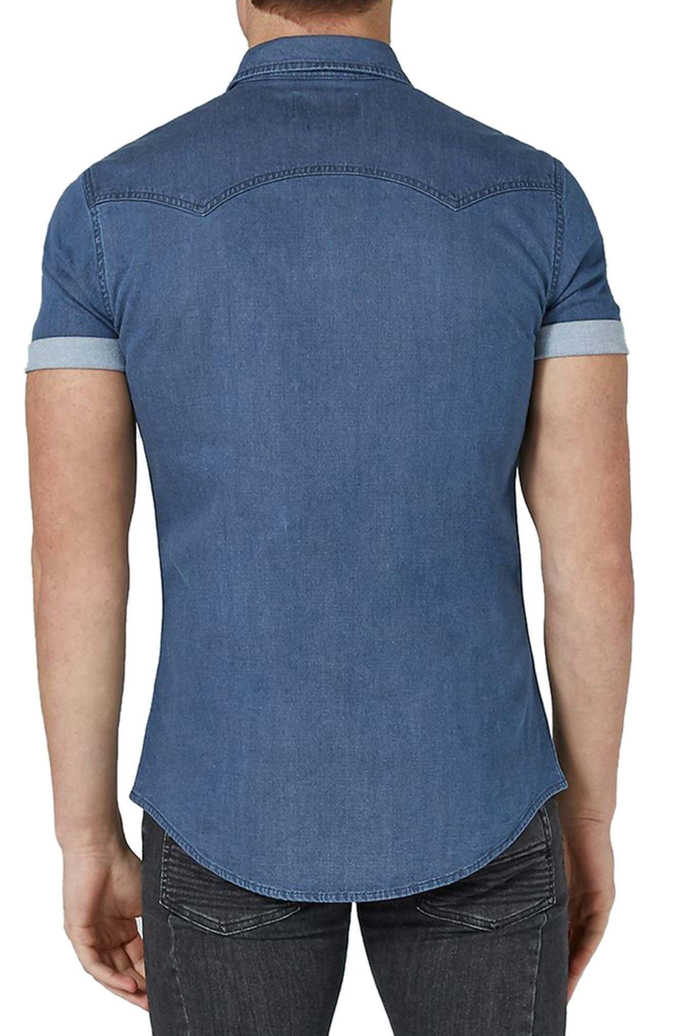 Muscle Fit Denim Shirt,                             Alternate thumbnail 3, color,                             Blue