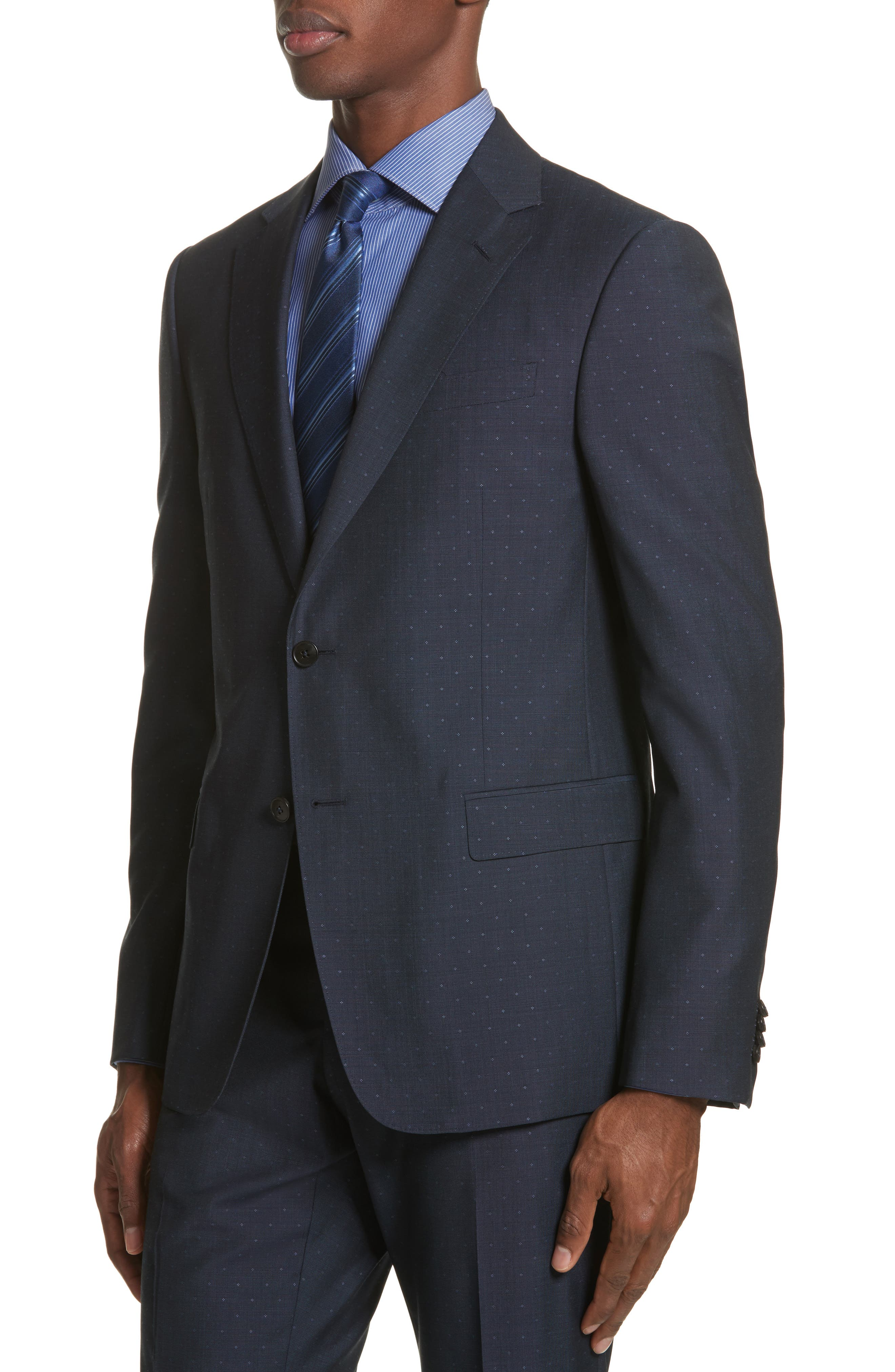 Classic Fit Dot Wool Suit,                             Alternate thumbnail 4, color,                             Navy Check