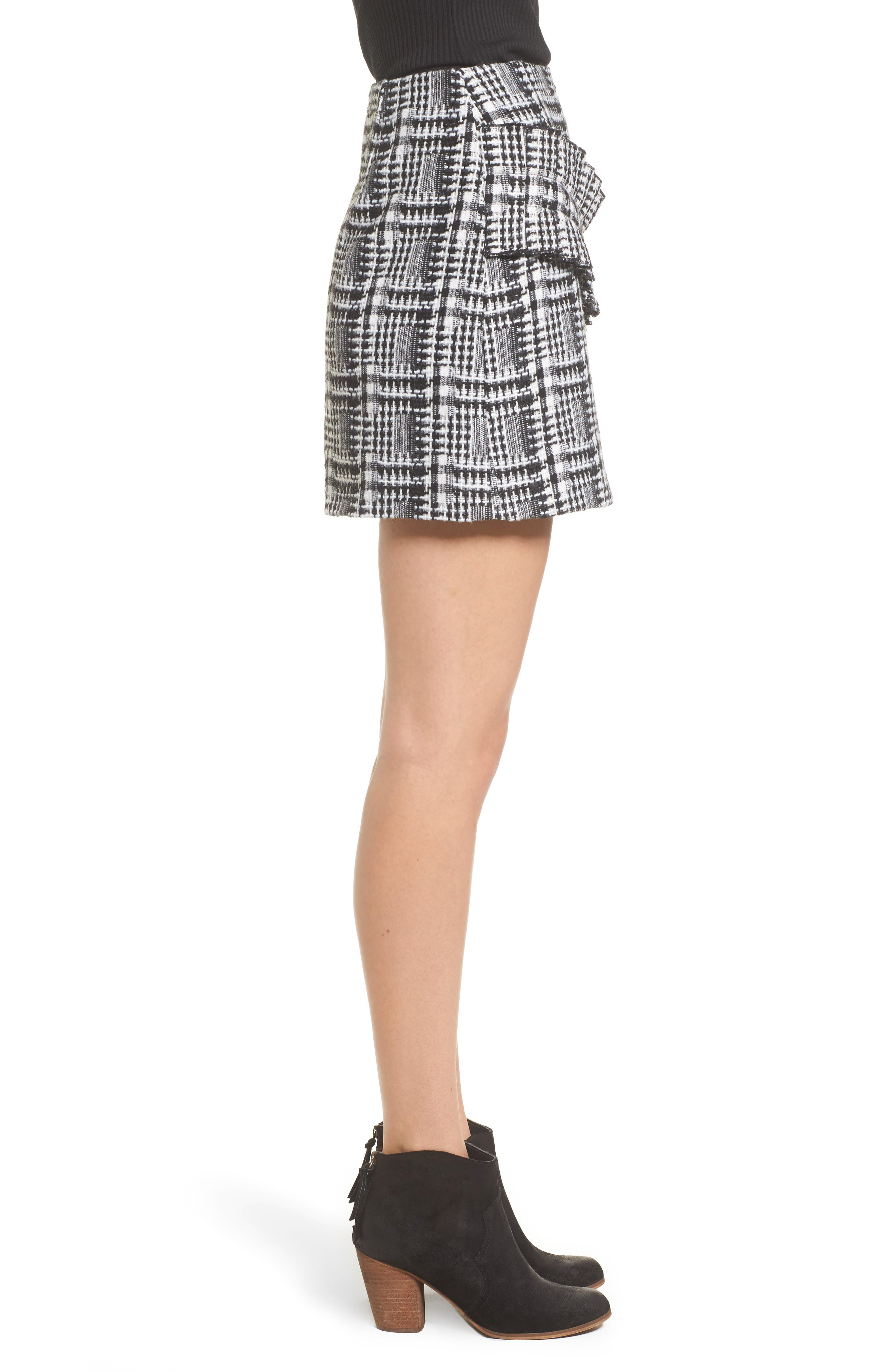 Ruffle Tweed Skirt,                             Alternate thumbnail 3, color,                             Black Plaid