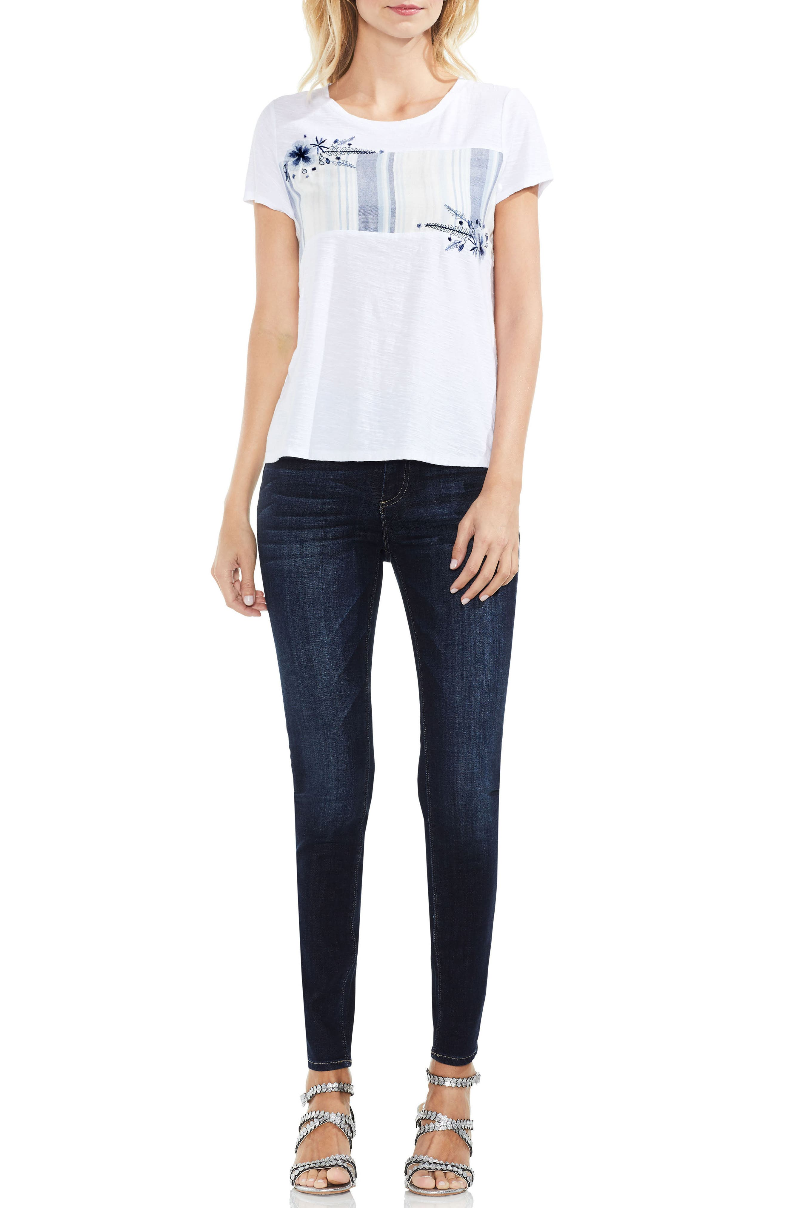 Alternate Image 3  - Vince Camuto Embroidered Stripe Inset Tee