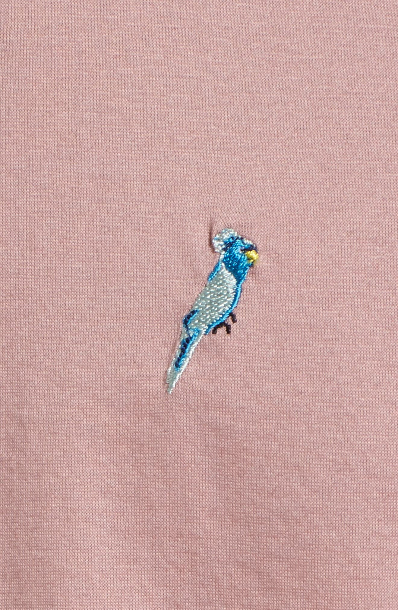 Scraffy Trim Fit Cockatoo Embroidered Polo,                             Alternate thumbnail 5, color,                             Dusky Pink