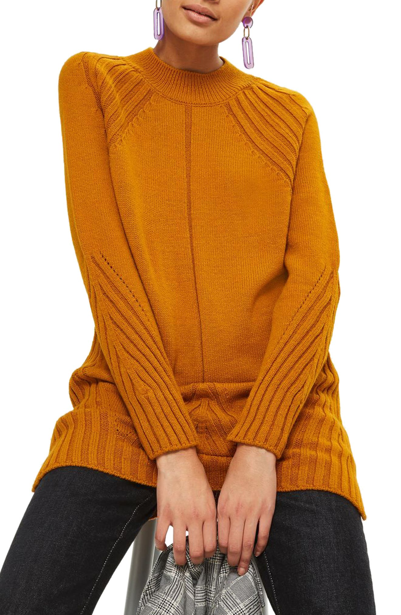 Knit Detail Sweater Dress,                         Main,                         color, Mustard