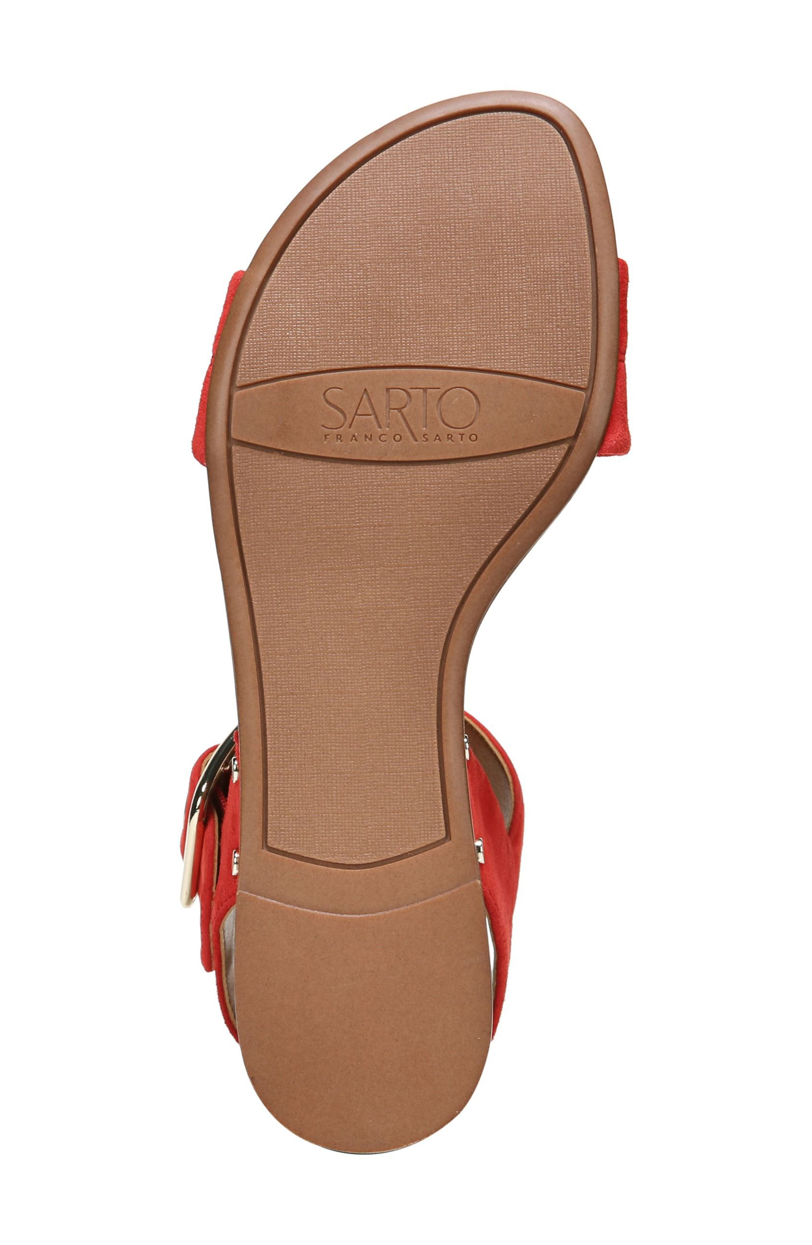 Patterson Low Wedge Sandal,                             Alternate thumbnail 6, color,                             Pop Red Suede
