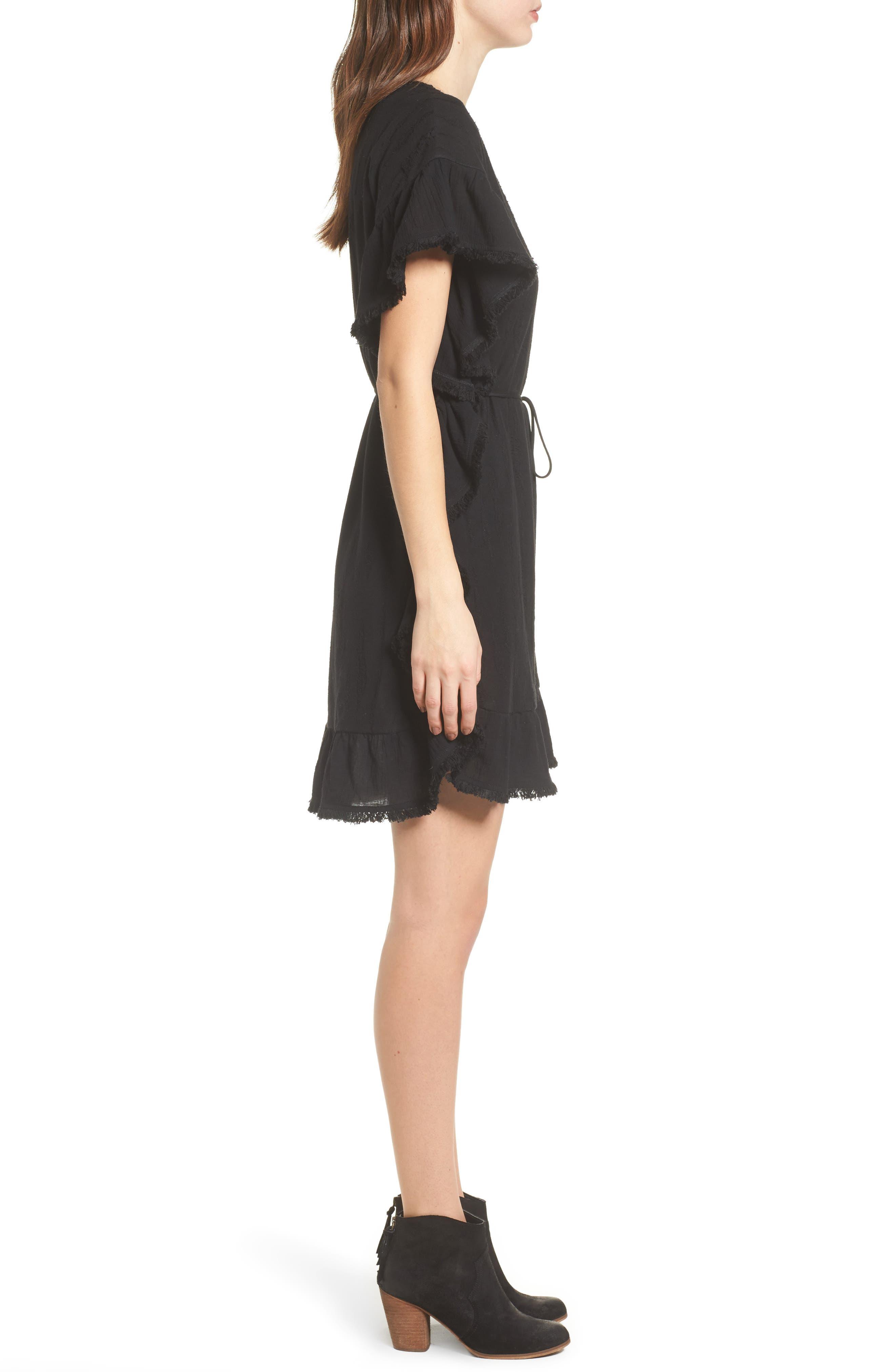 Ruffle Edge Dress,                             Alternate thumbnail 3, color,                             Black