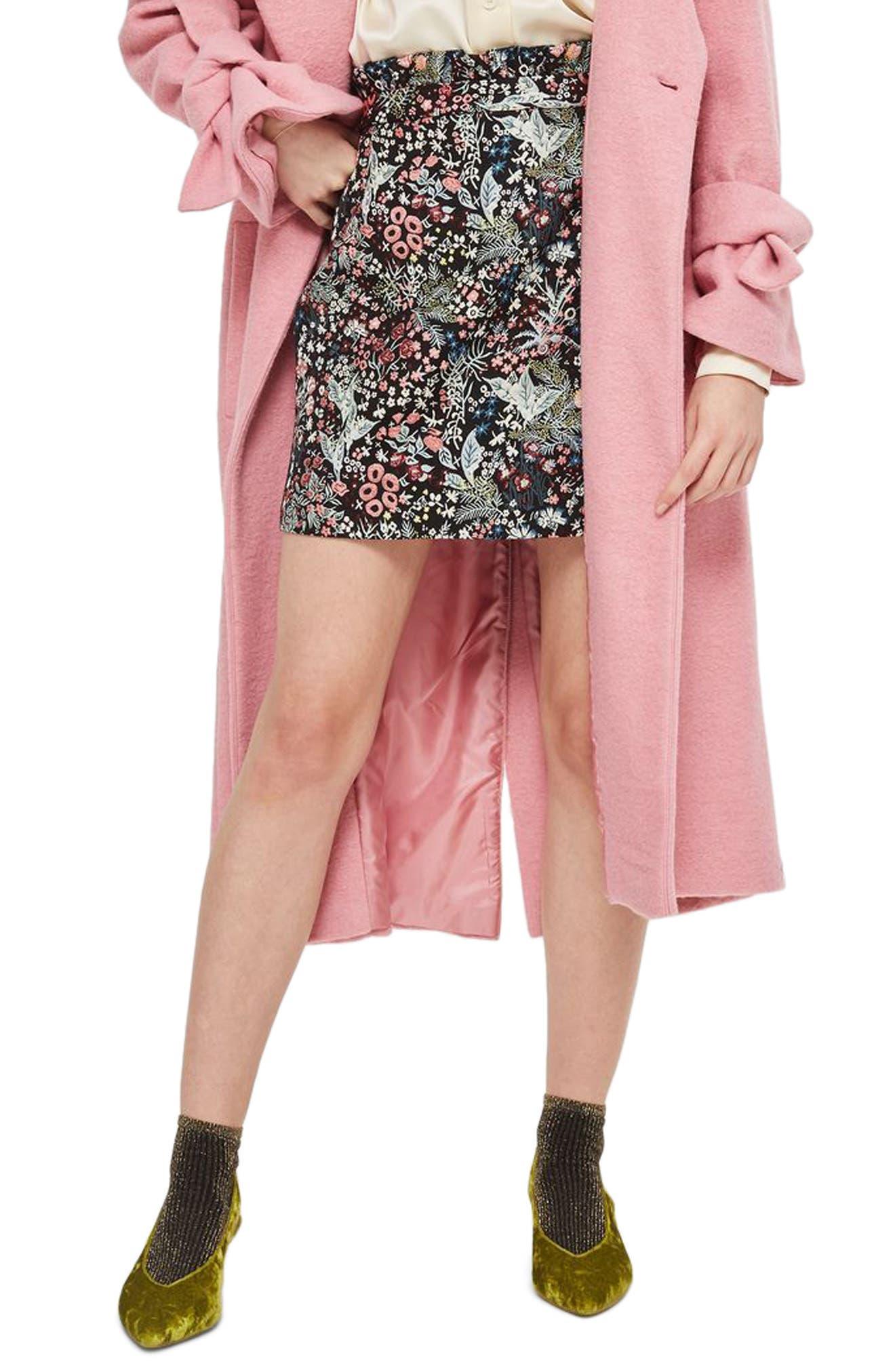 Woodland Jacquard Skirt,                             Main thumbnail 1, color,                             Black Multi