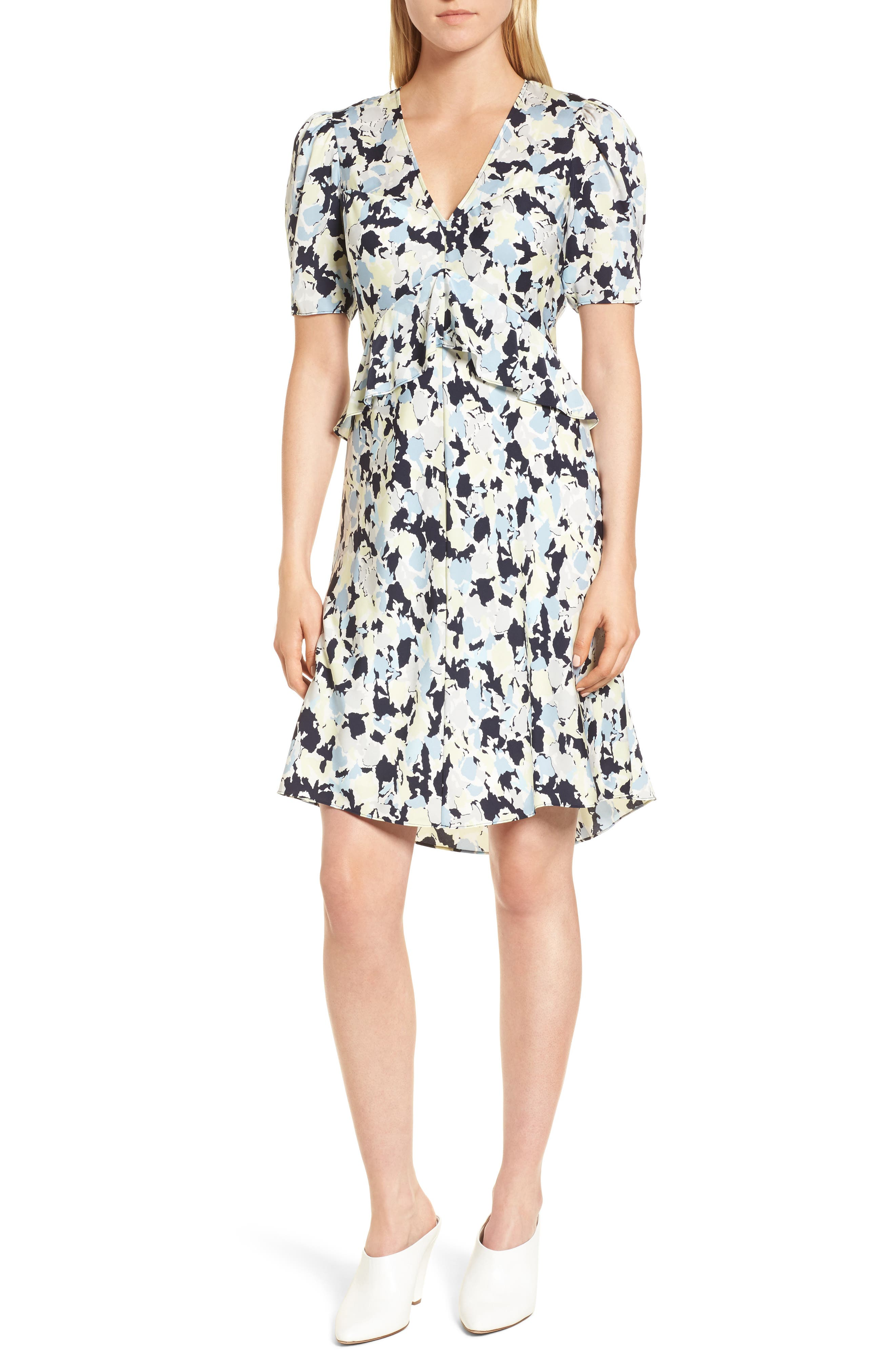 Ruffle Front A-Line Stretch Silk Dress,                             Main thumbnail 1, color,                             Navy Night Gia Print