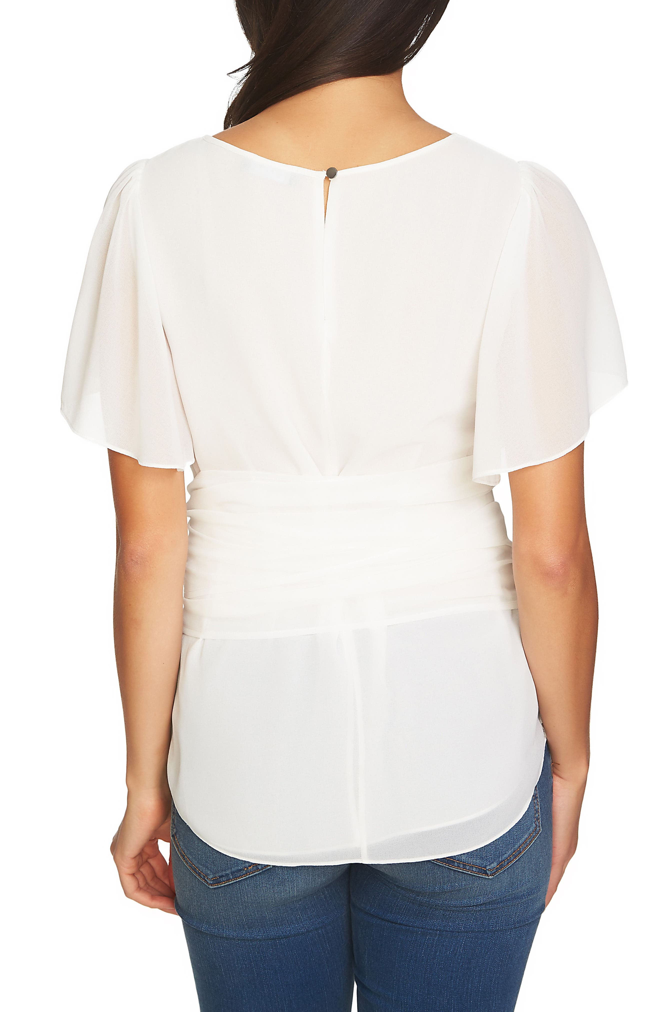 Tie Waist Blouse,                             Alternate thumbnail 2, color,                             Antique White