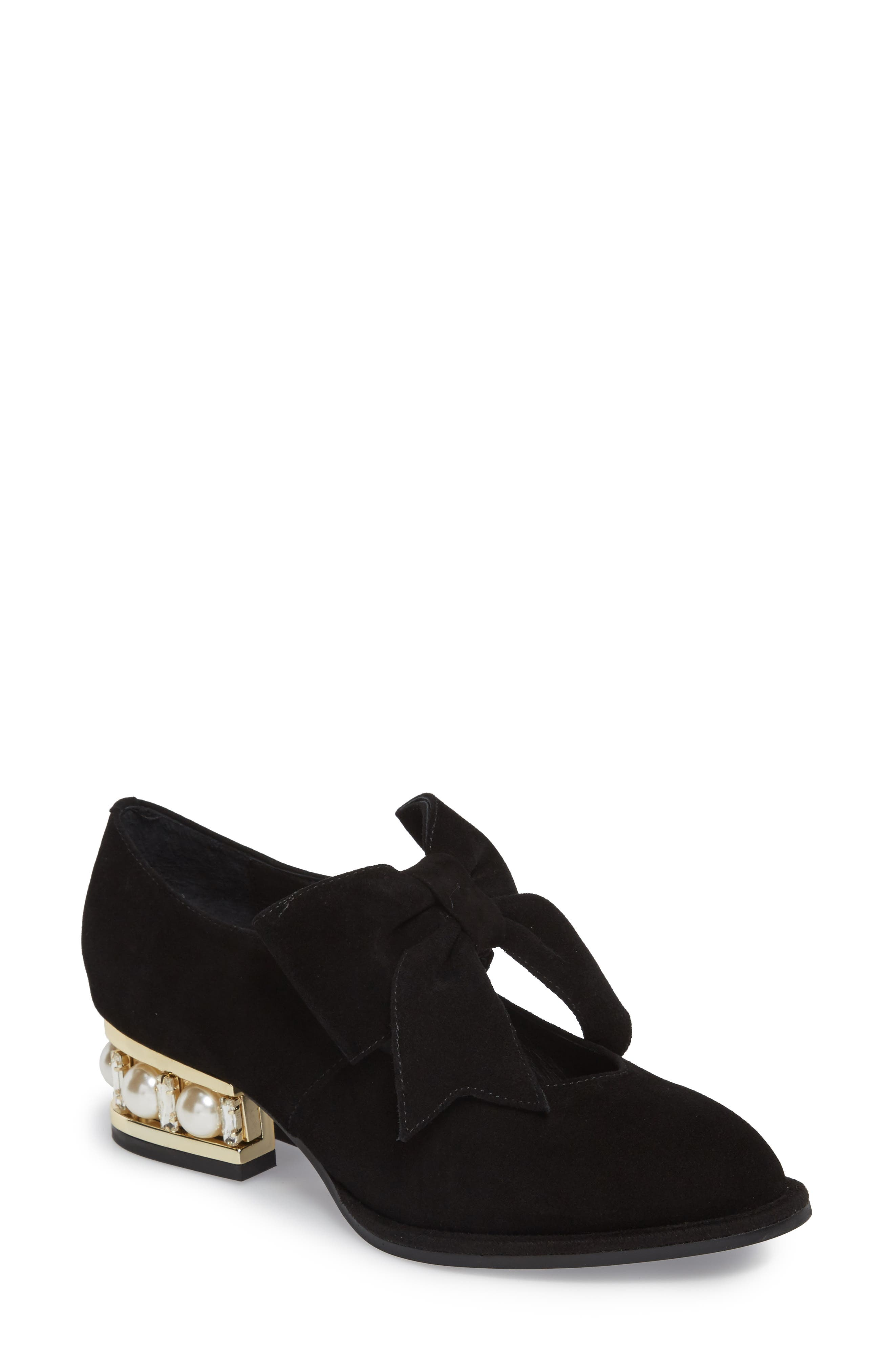 Cordene Embellished Bow Pump,                             Main thumbnail 1, color,                             Black/ Gold Suede