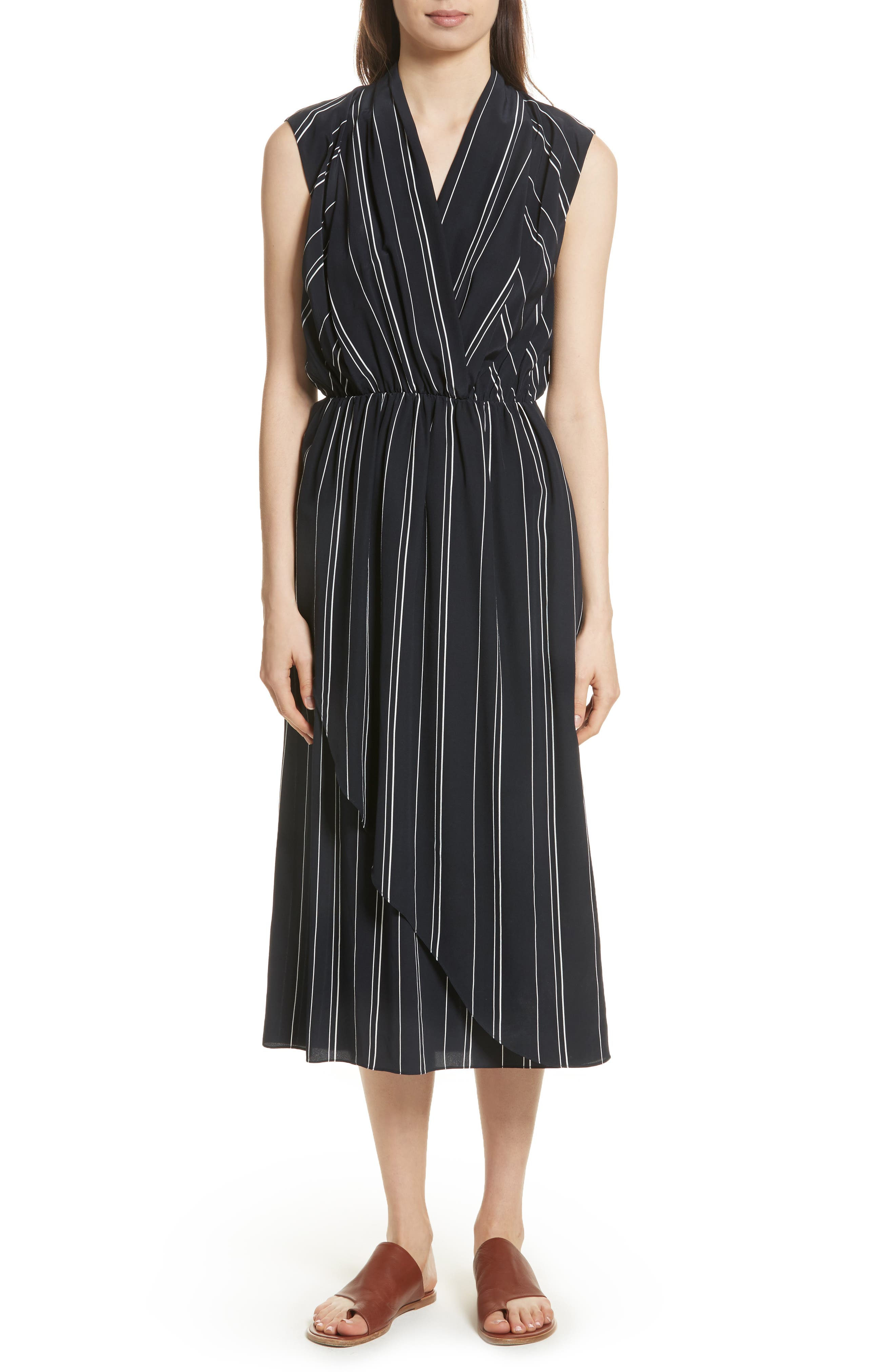 Draped Front Stripe Silk Midi Dress,                         Main,                         color, Coastal