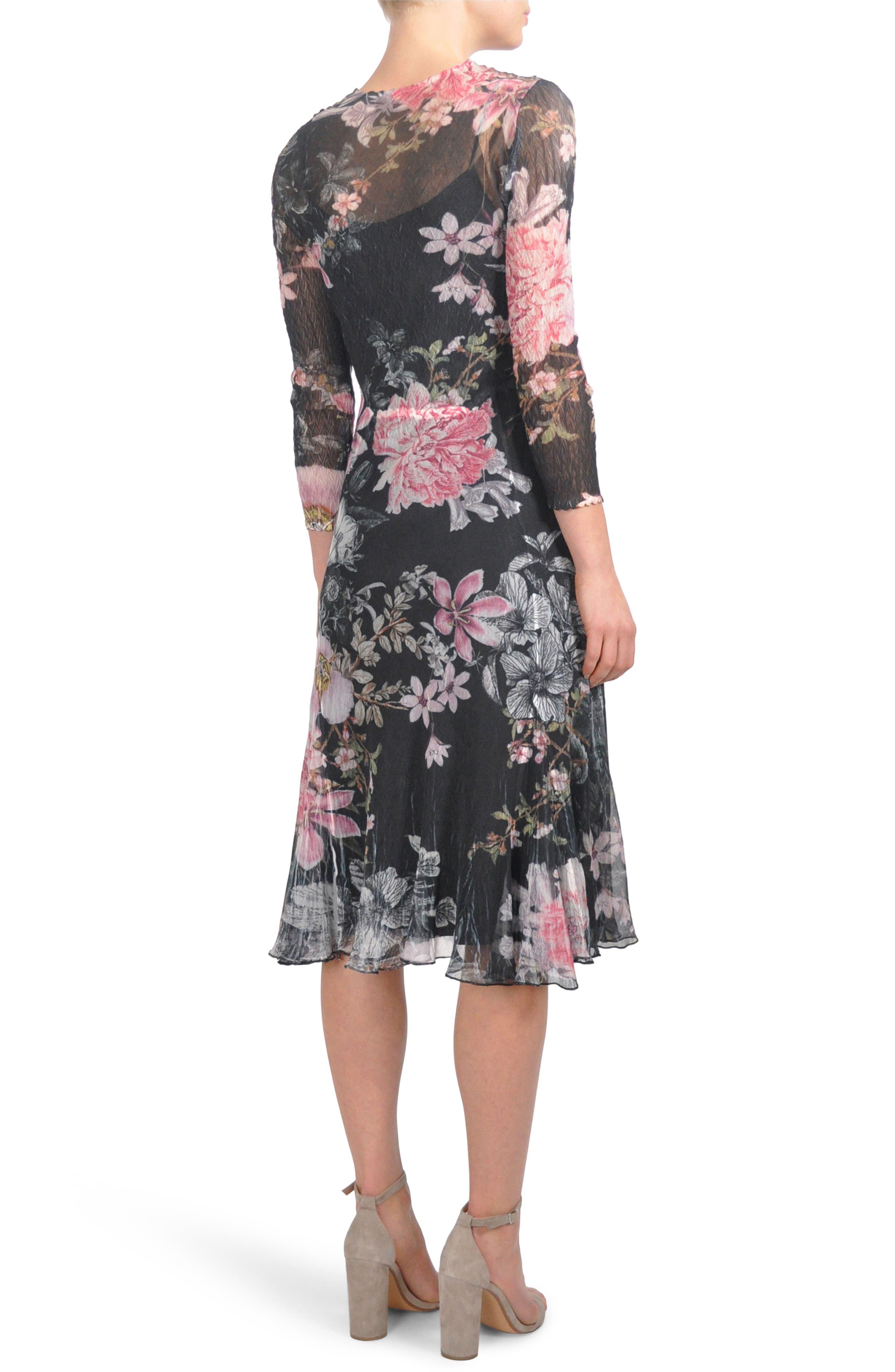 Alternate Image 2  - Komarov Floral Chiffon A-Line Dress (Regular & Petite)