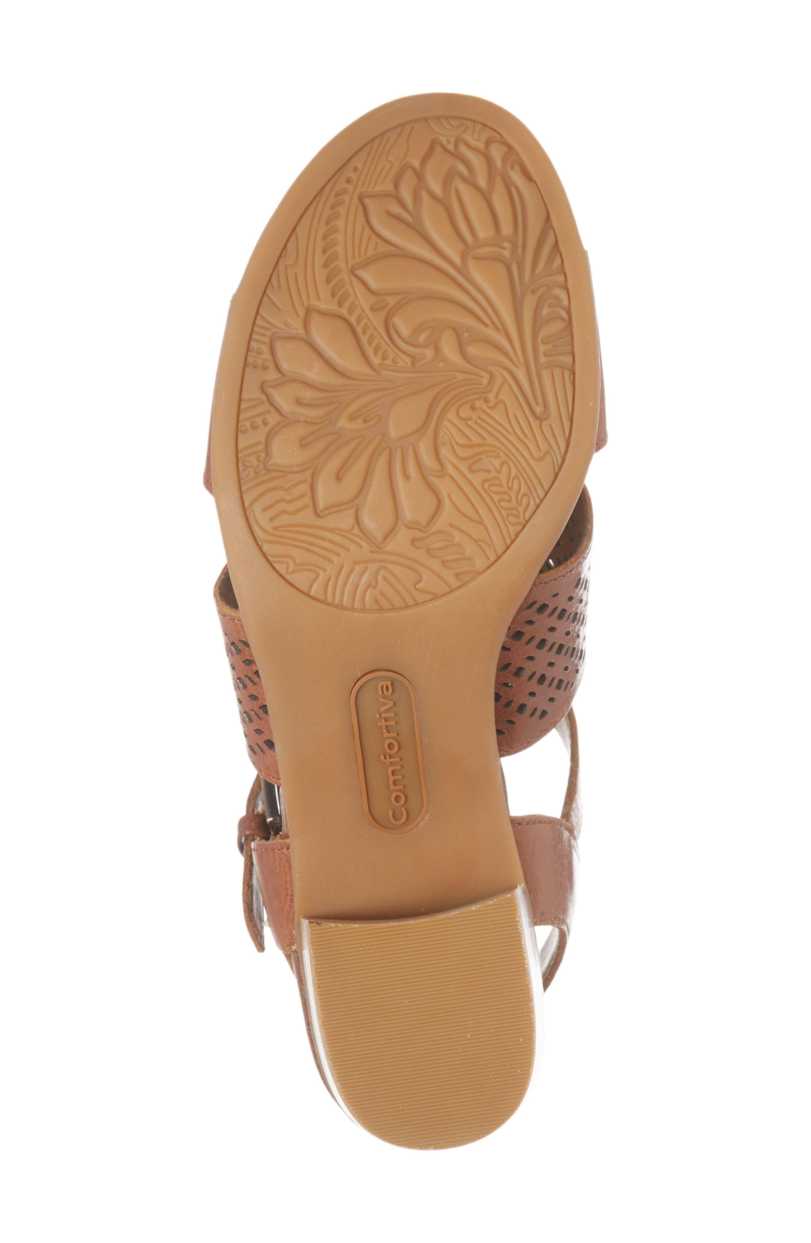 Amber Perforated Block Heel Sandal,                             Alternate thumbnail 6, color,                             Luggage Leather