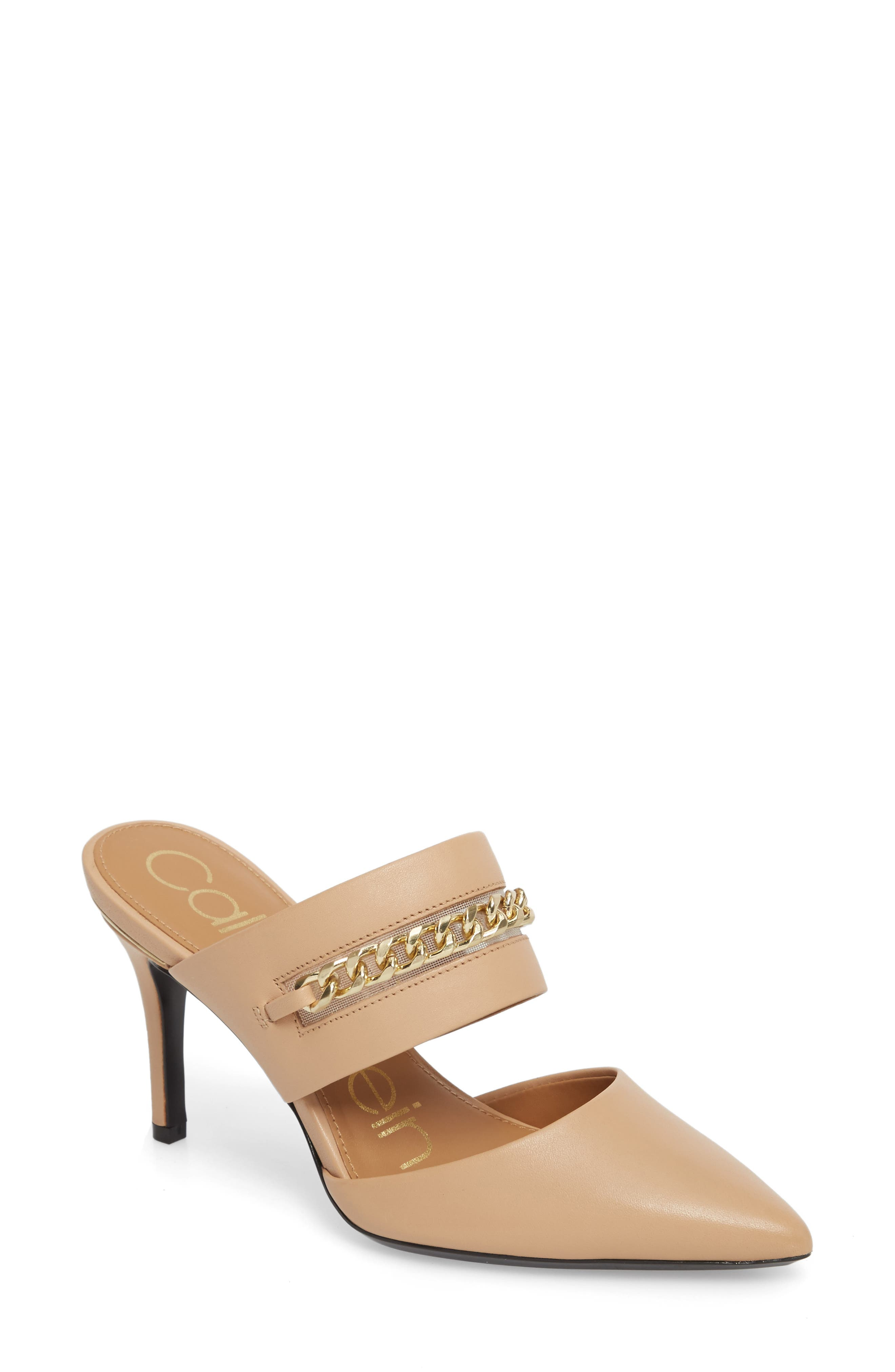 Ginette Embellished Pointy Toe Mule,                         Main,                         color, Sandstorm Leather