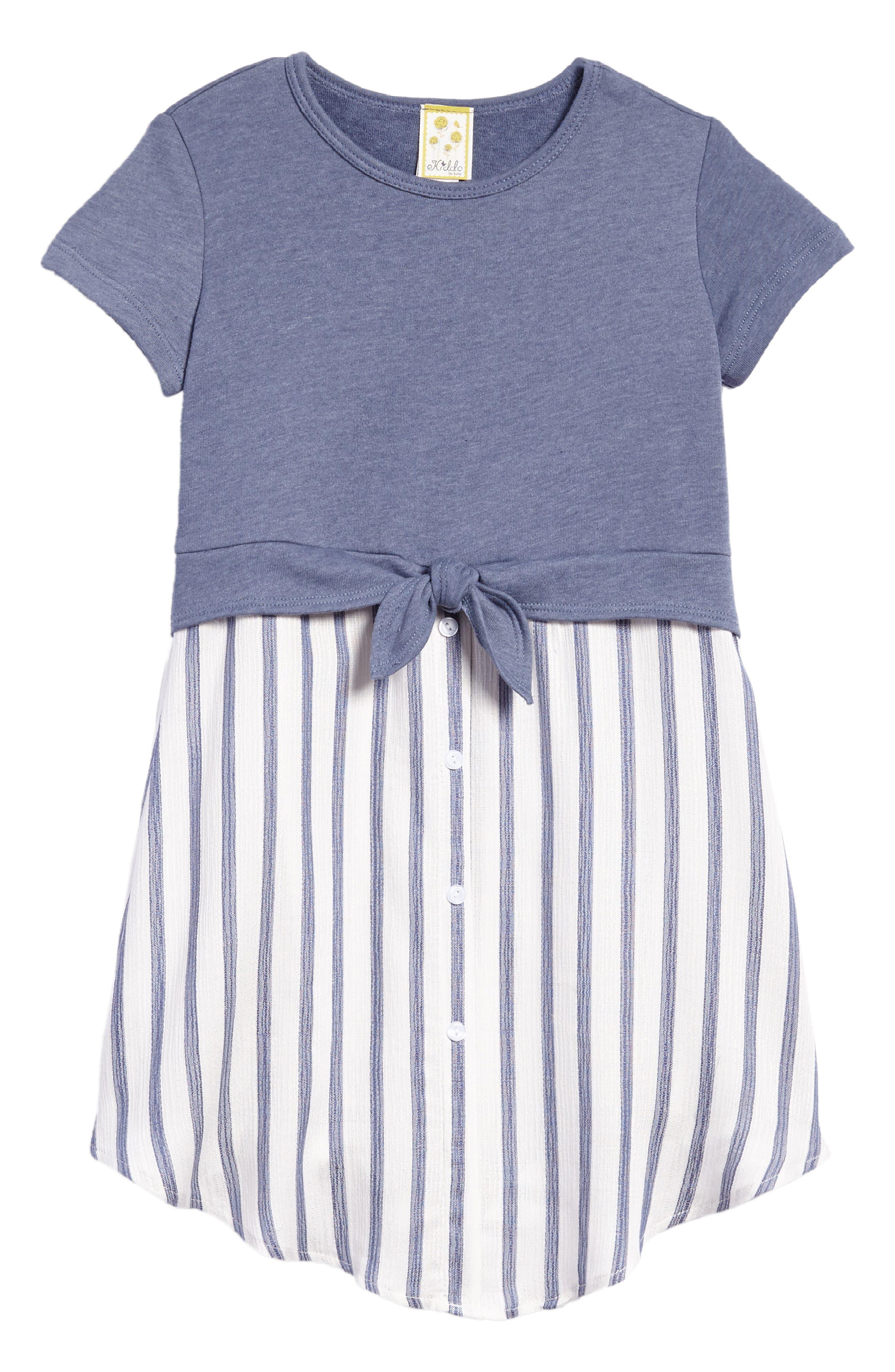 Tie Front Dress,                         Main,                         color, Blue Multi
