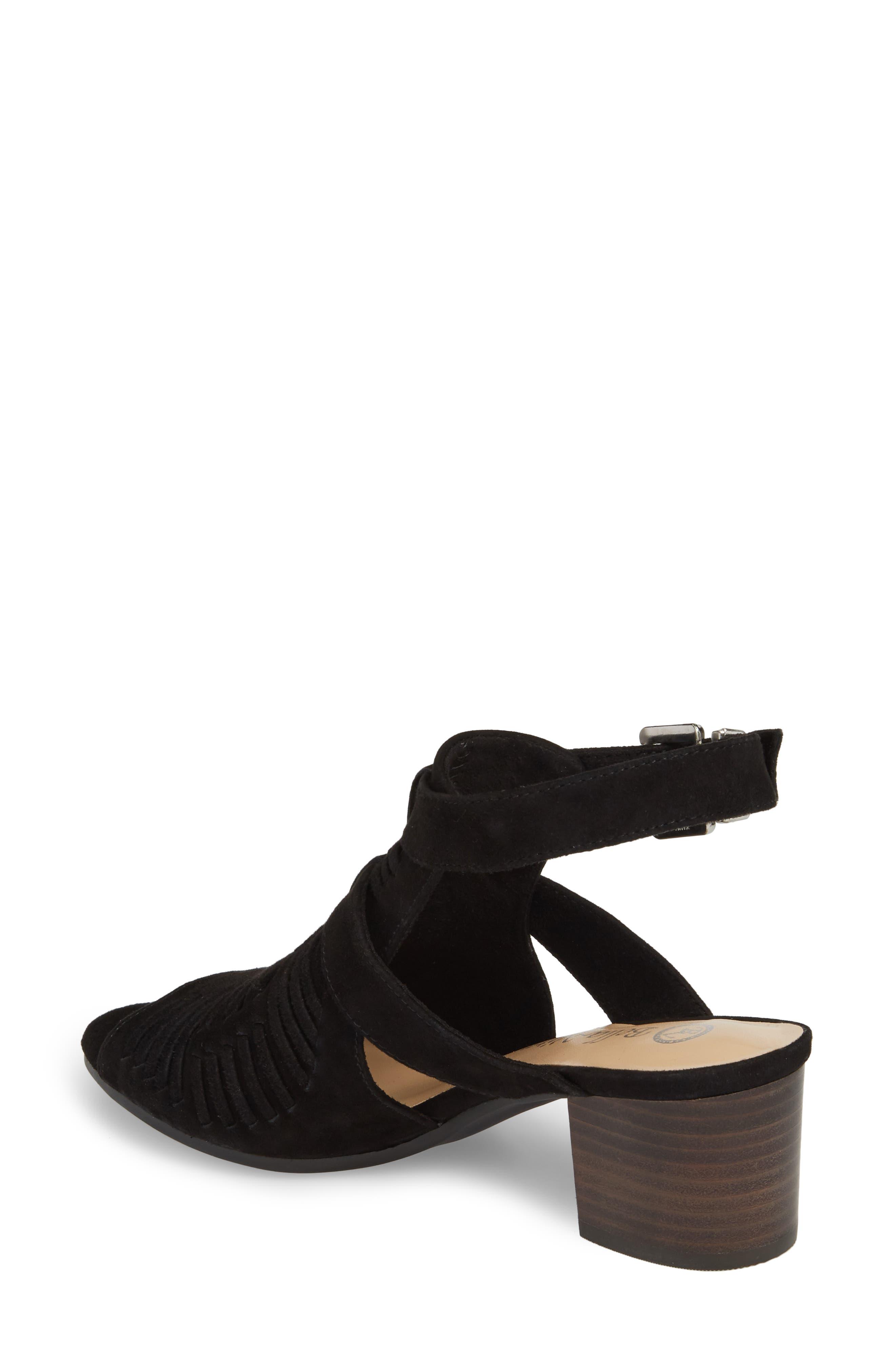 Finley Ankle Strap Sandal,                             Alternate thumbnail 2, color,                             Black Suede