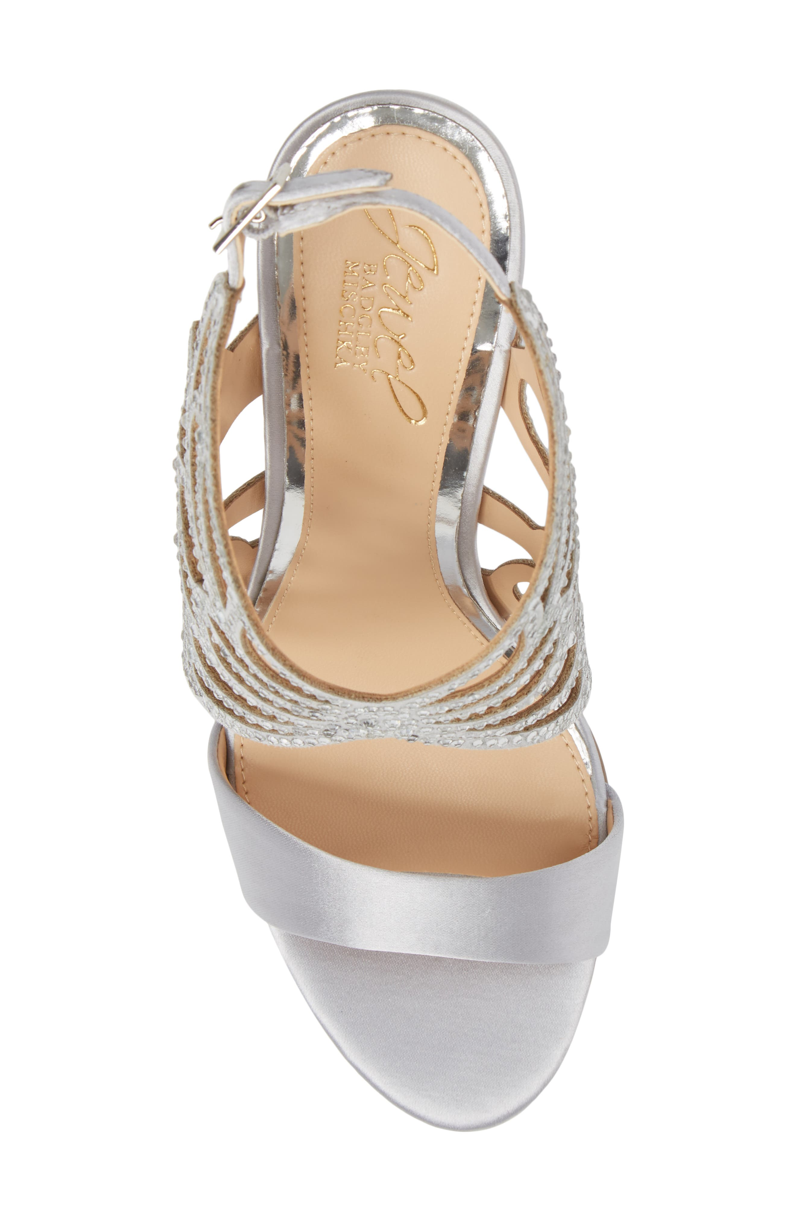 Taresa Crystal Embellished Butterfly Sandal,                             Alternate thumbnail 5, color,                             Silver Satin