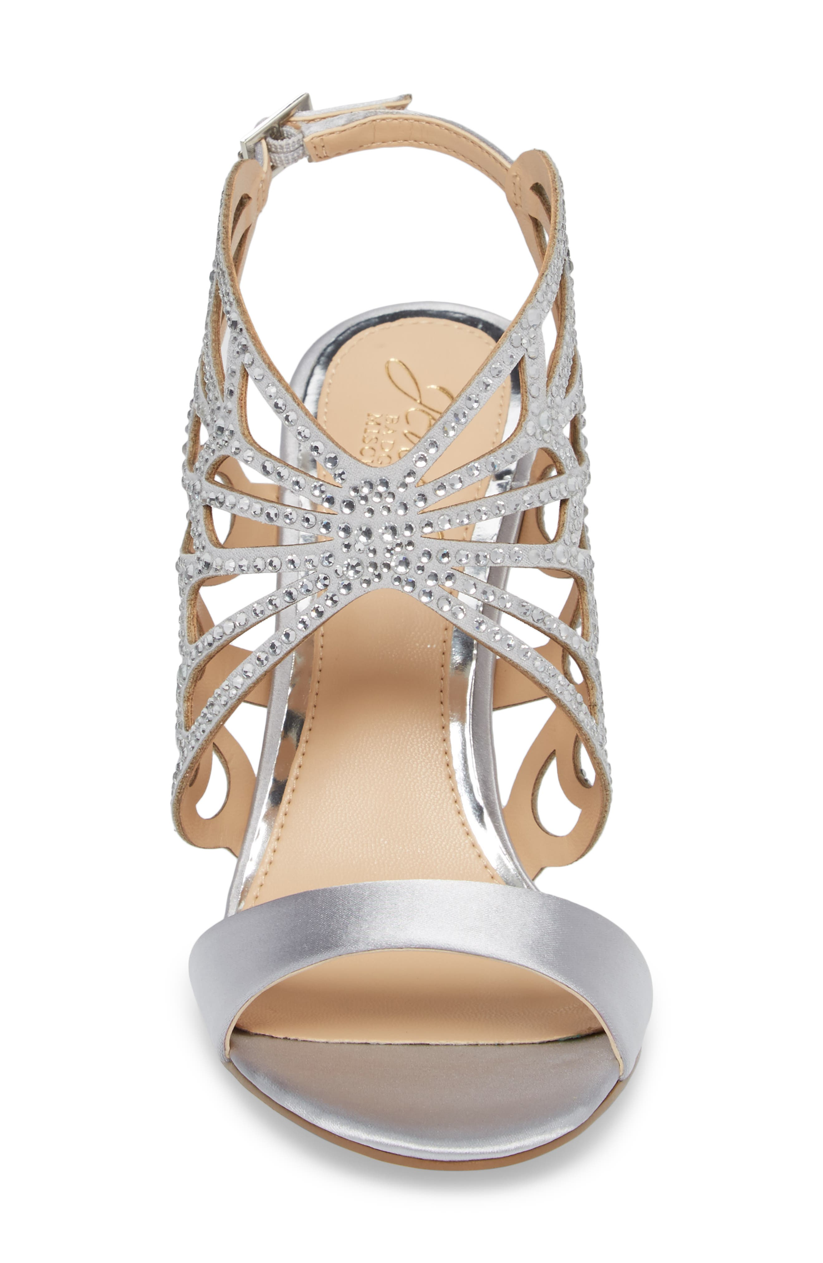 Taresa Crystal Embellished Butterfly Sandal,                             Alternate thumbnail 4, color,                             Silver Satin