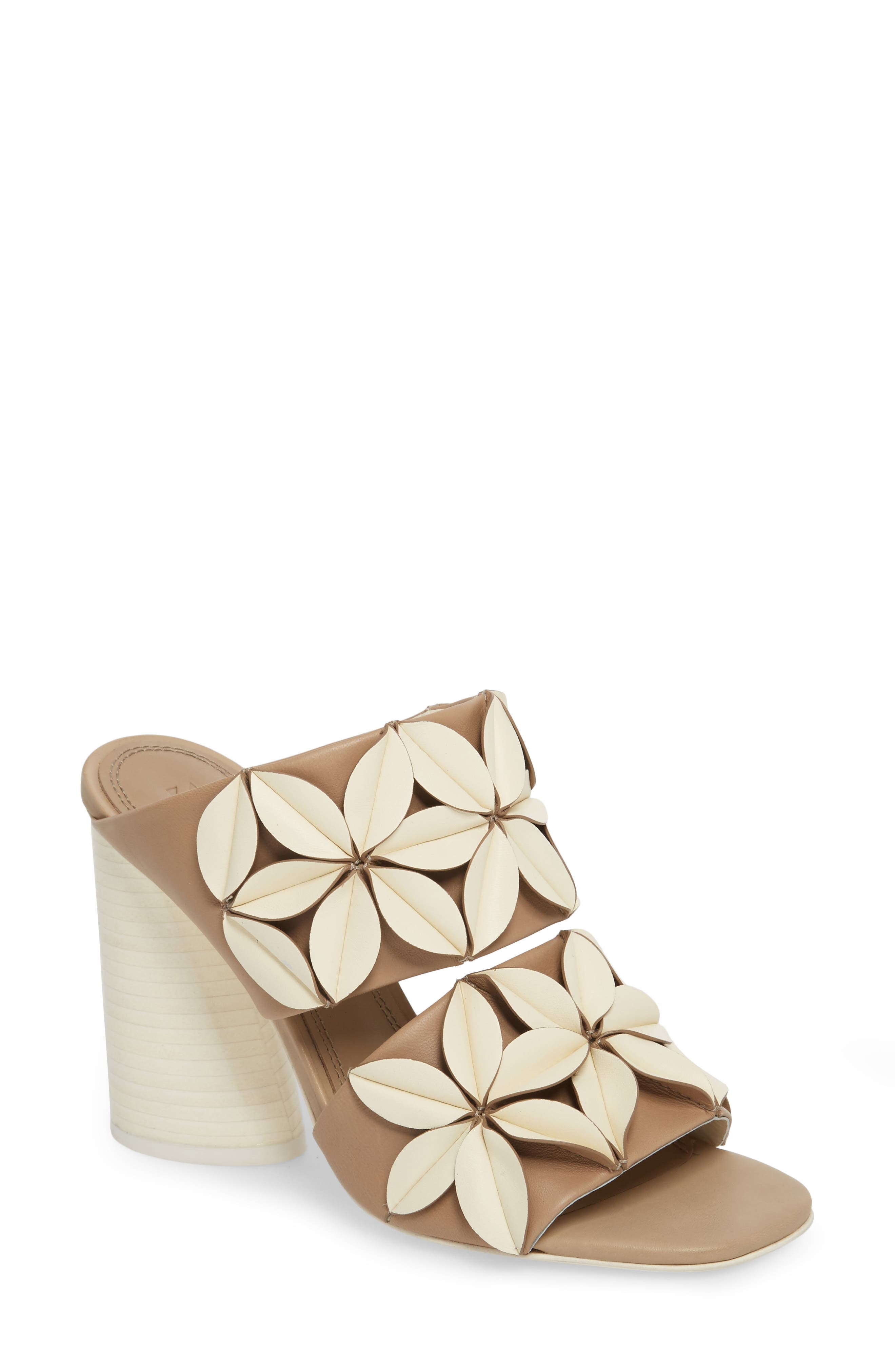 Mura Floral Embellished Mule,                             Main thumbnail 1, color,                             Ivory/ Taupe