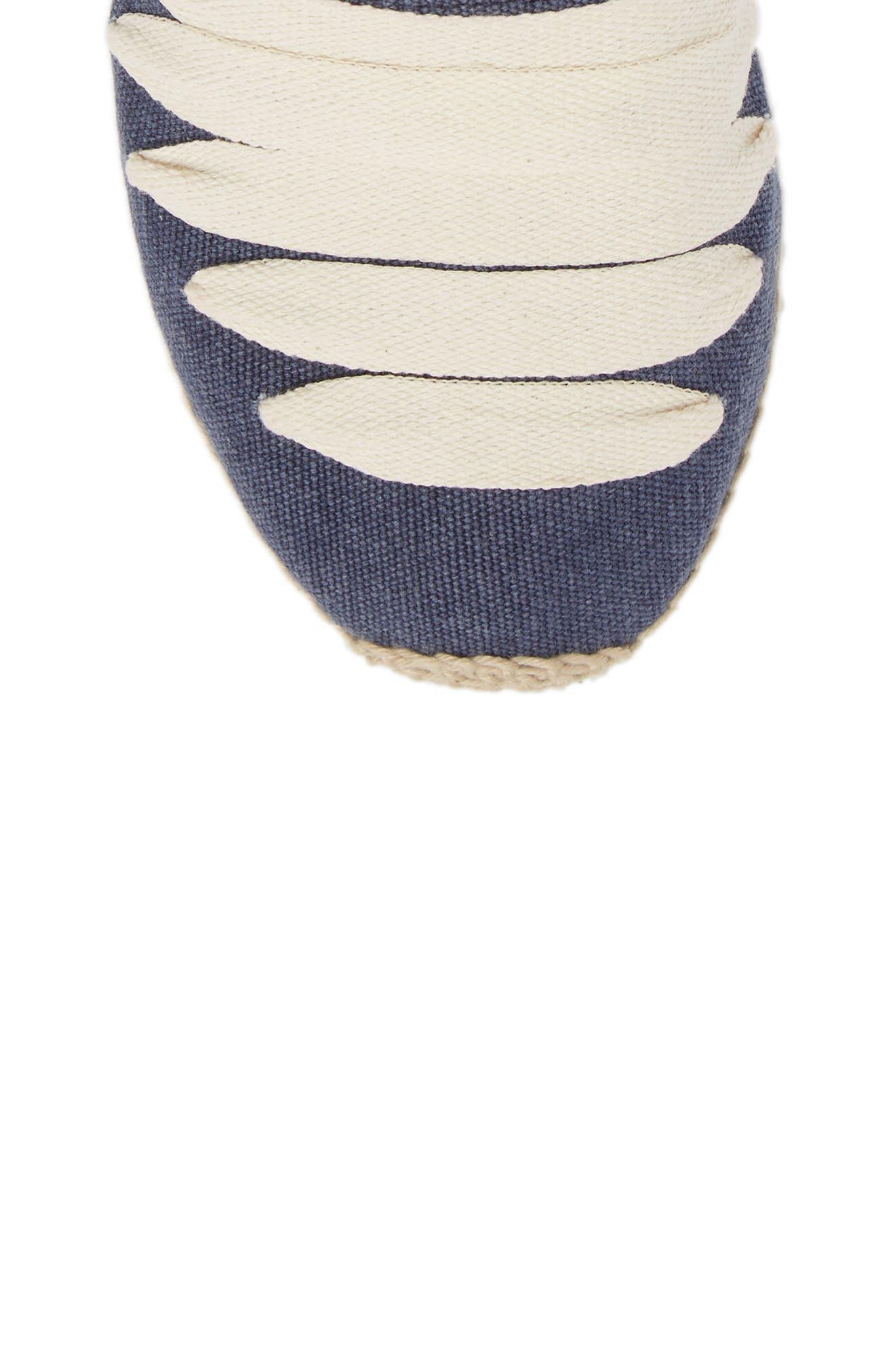 Gavet Wraparound Espadrille,                             Alternate thumbnail 5, color,                             Blue/ Ecru Fabric