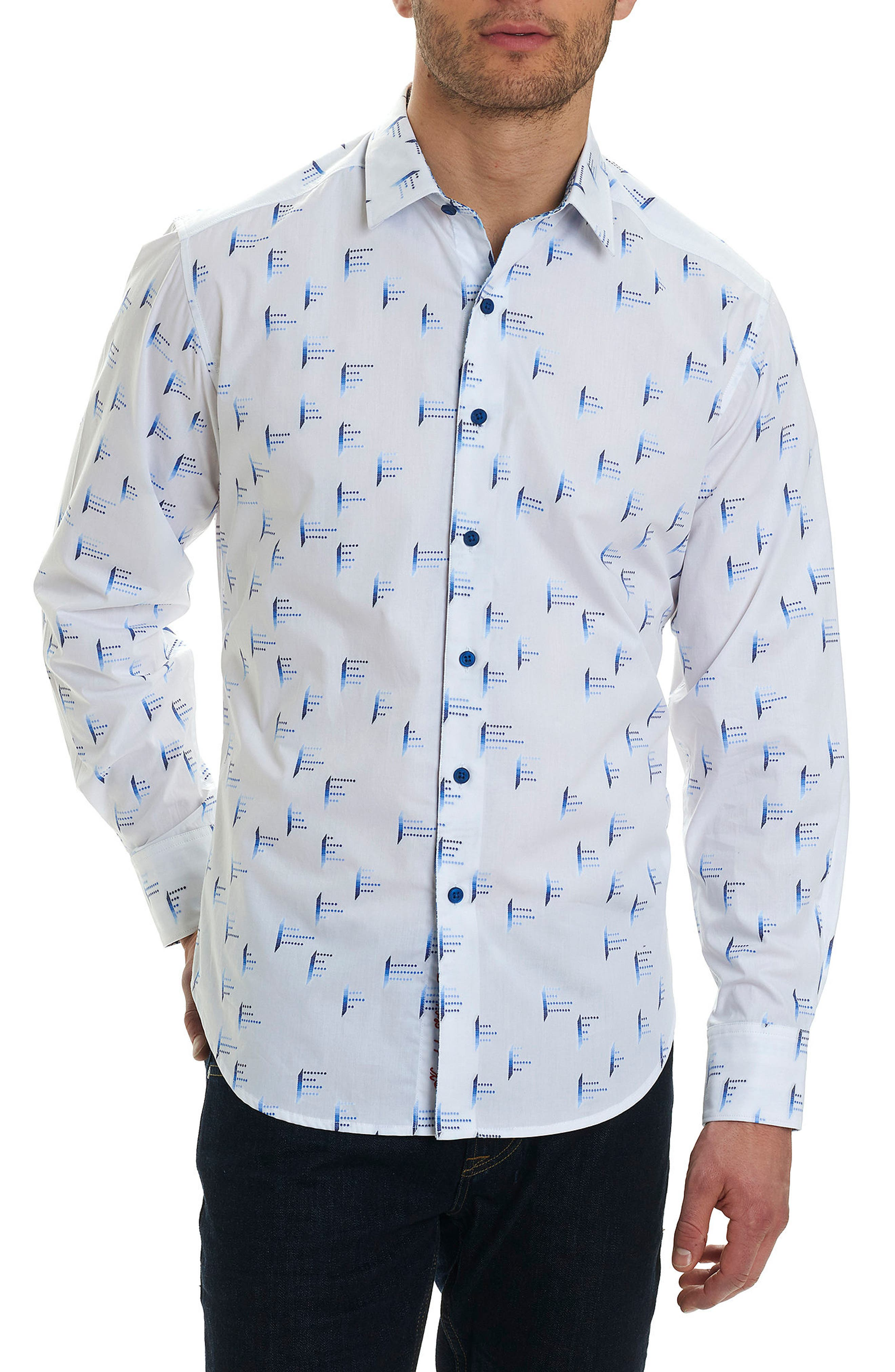 Reid Classic Fit Print Sport Shirt,                             Main thumbnail 1, color,                             White