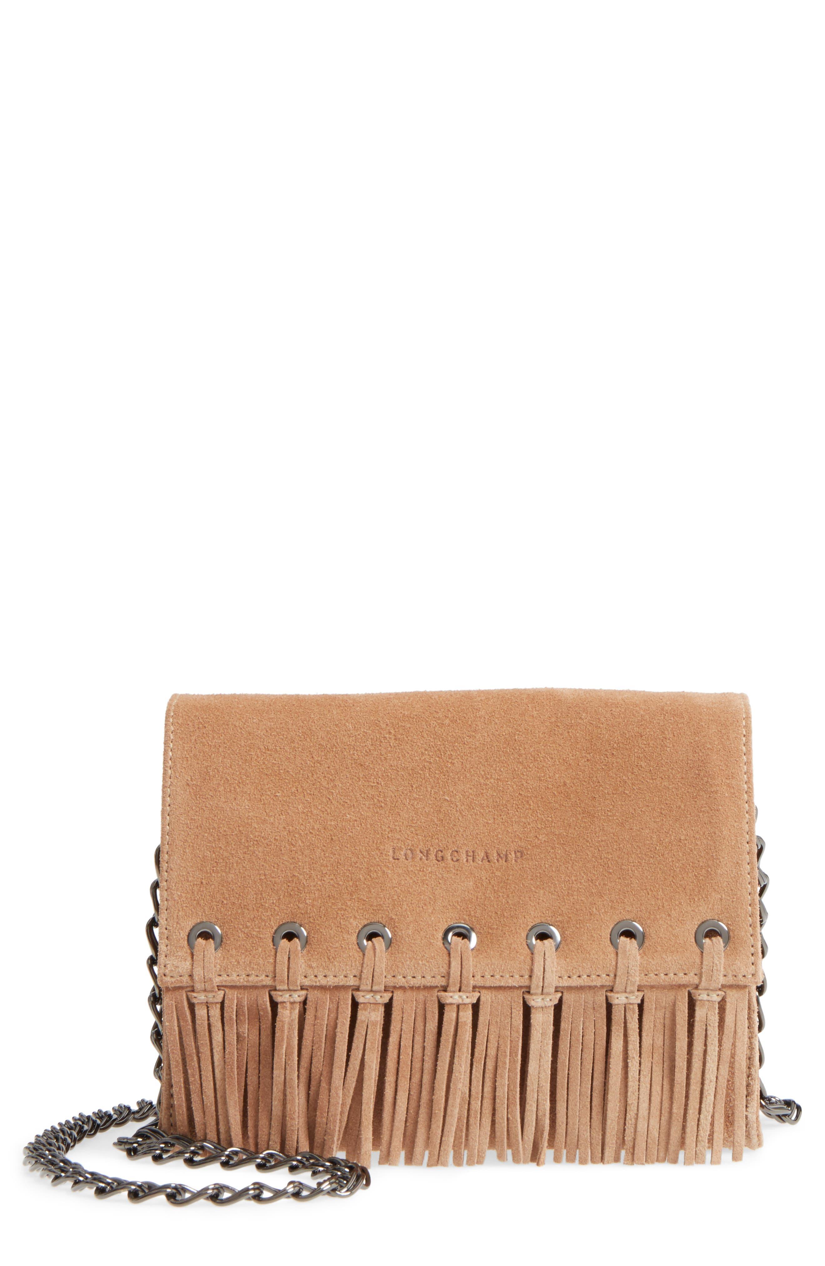 Longchamp Paris Rocks Fringe Calfskin Suede Crossbody Bag