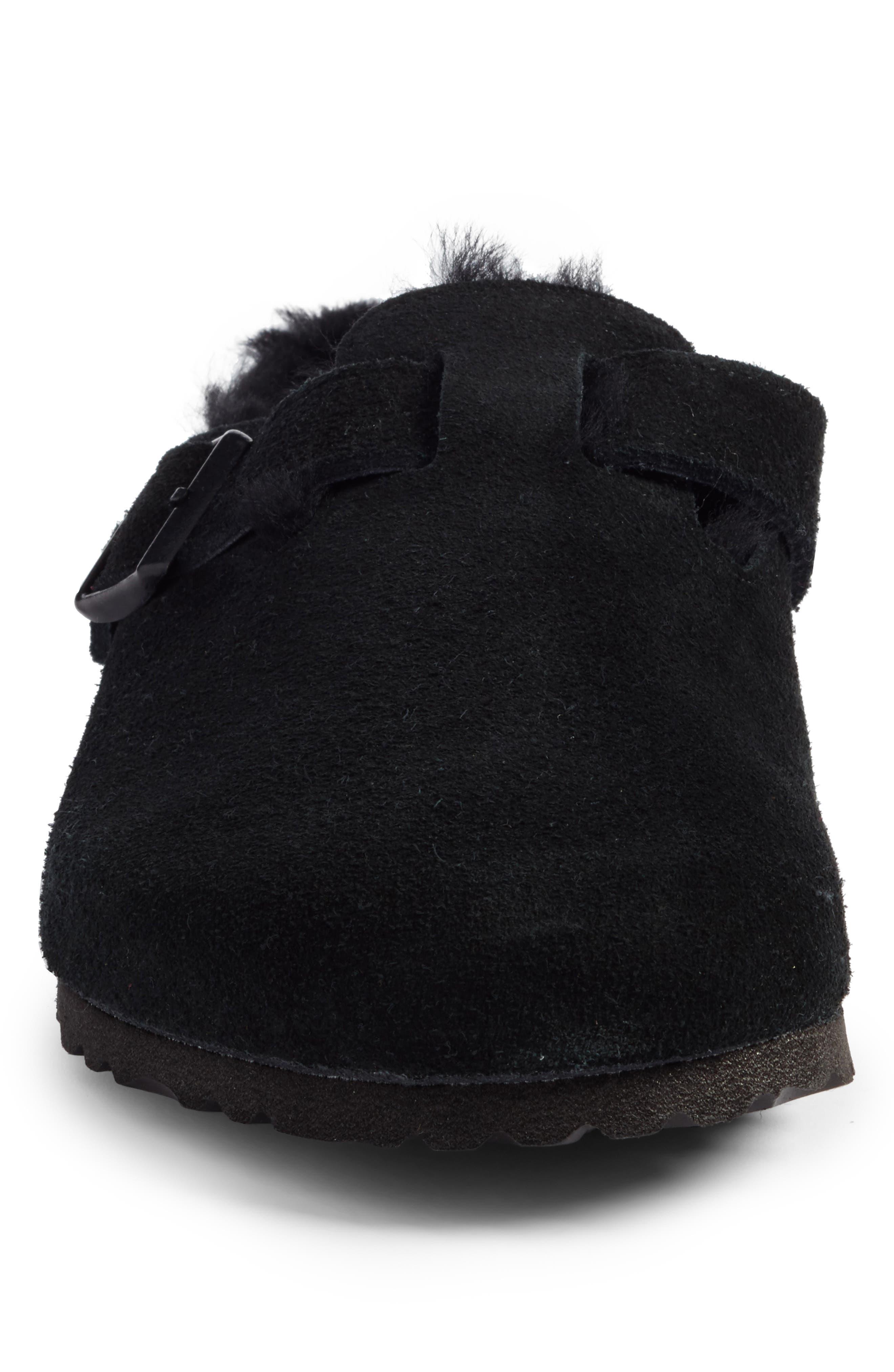 Boston Genuine Shearling Lined Clog,                             Alternate thumbnail 4, color,                             Black/ Black