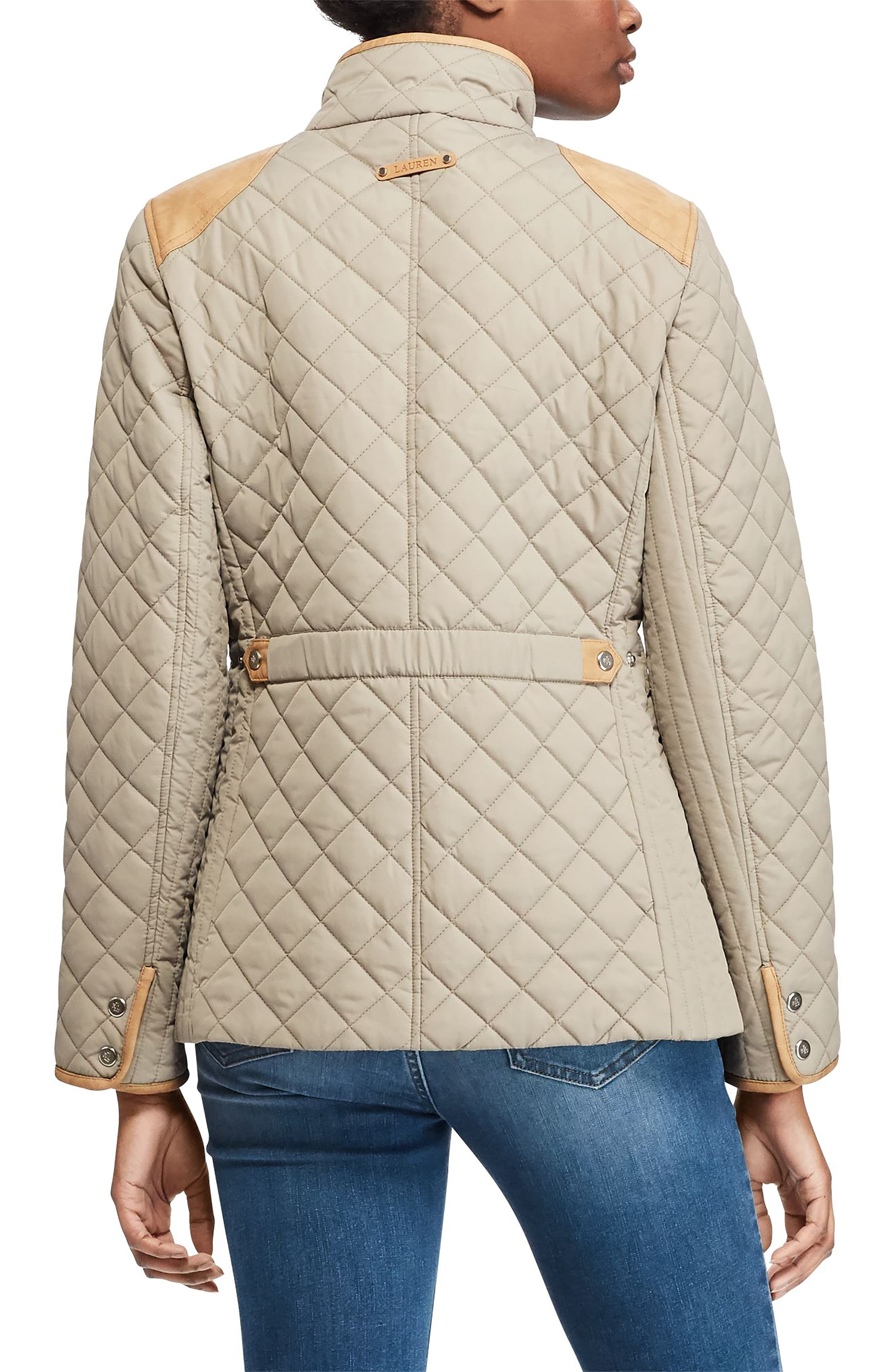 Faux Leather Trim Quilted Jacket,                             Alternate thumbnail 2, color,                             Summer Sage