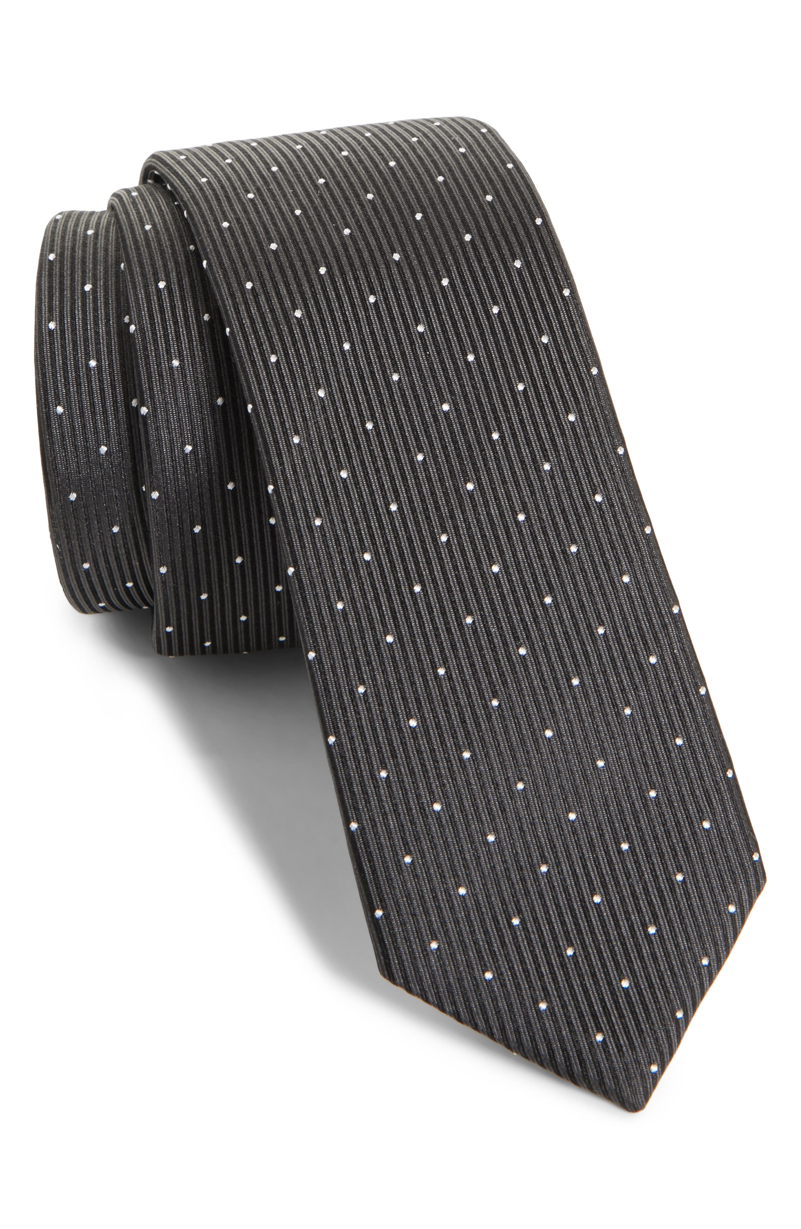 Dot Silk Skinny Tie,                             Main thumbnail 1, color,                             Black