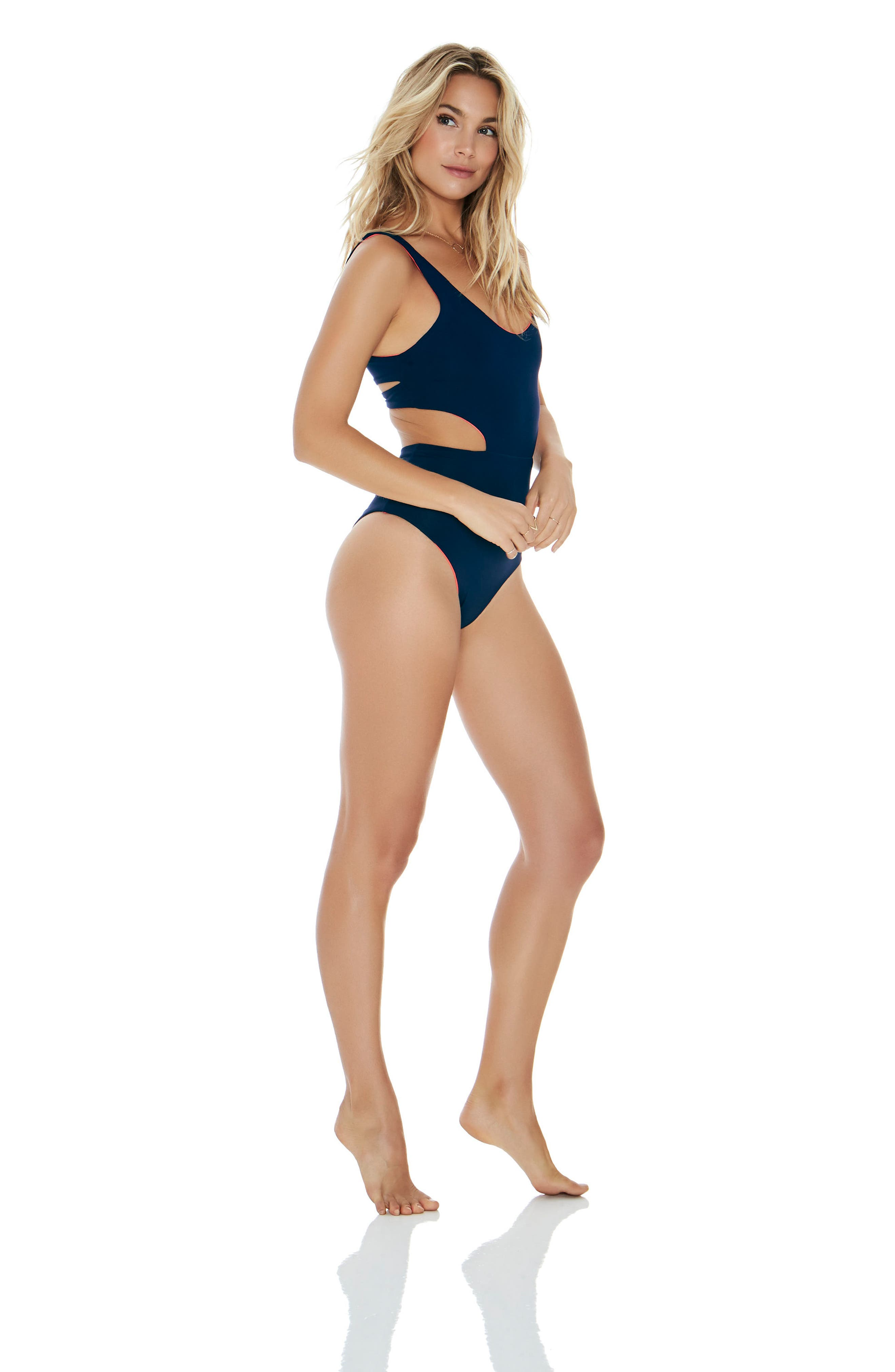 Rita Reversible One-Piece Swimsuit,                             Alternate thumbnail 5, color,                             Midnight Blue/ Pink