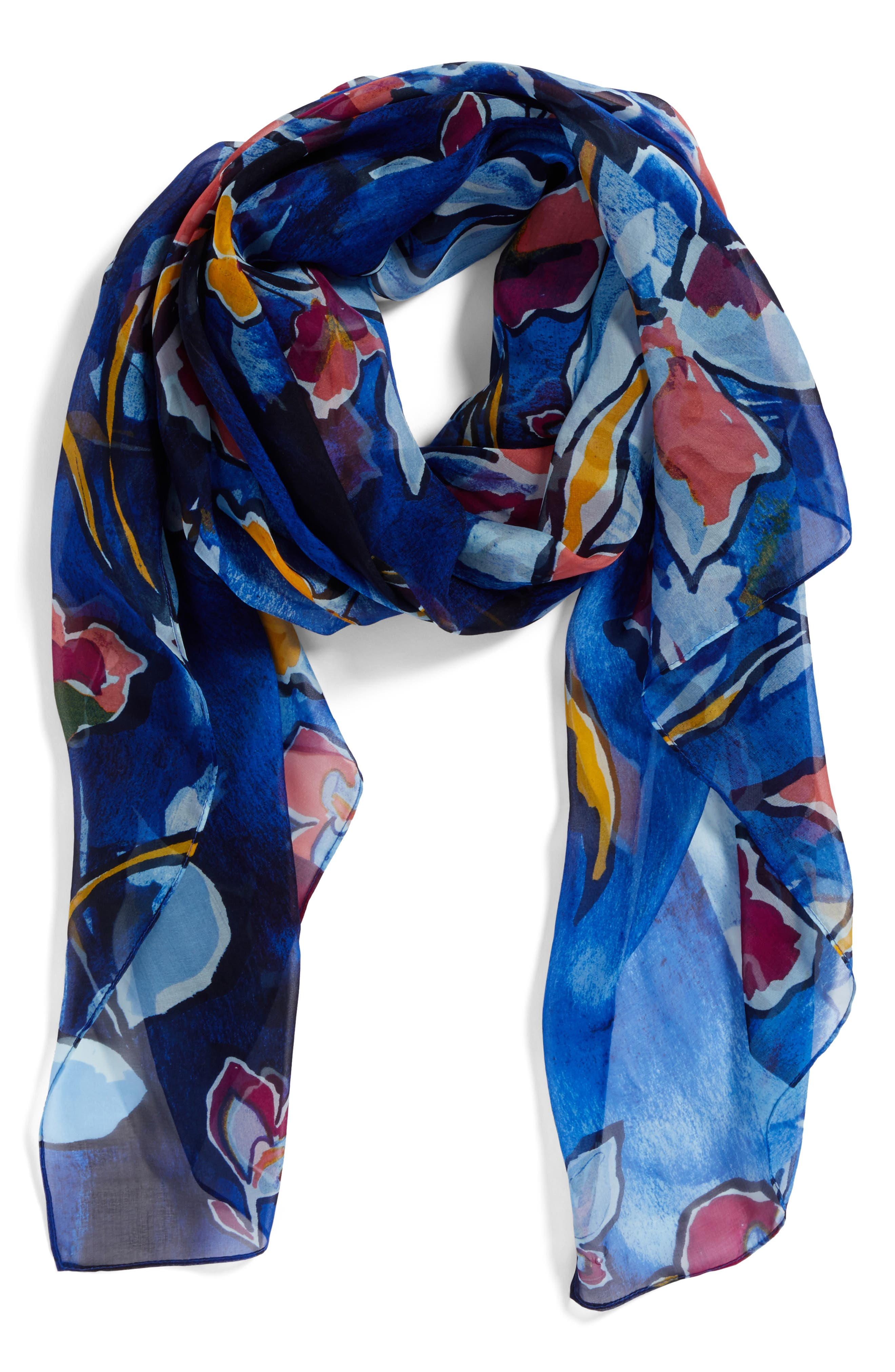 Silk Chiffon Oblong Scarf,                             Alternate thumbnail 2, color,                             Blue Textured Blooms