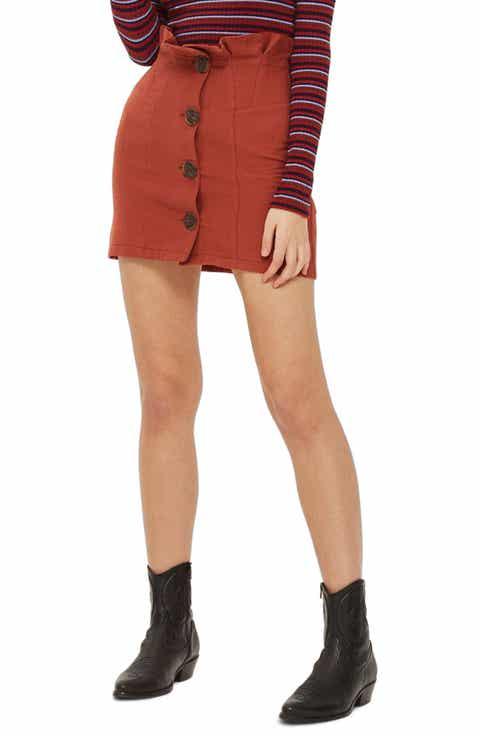 Topshop Paperbag Waist Button Front Skirt