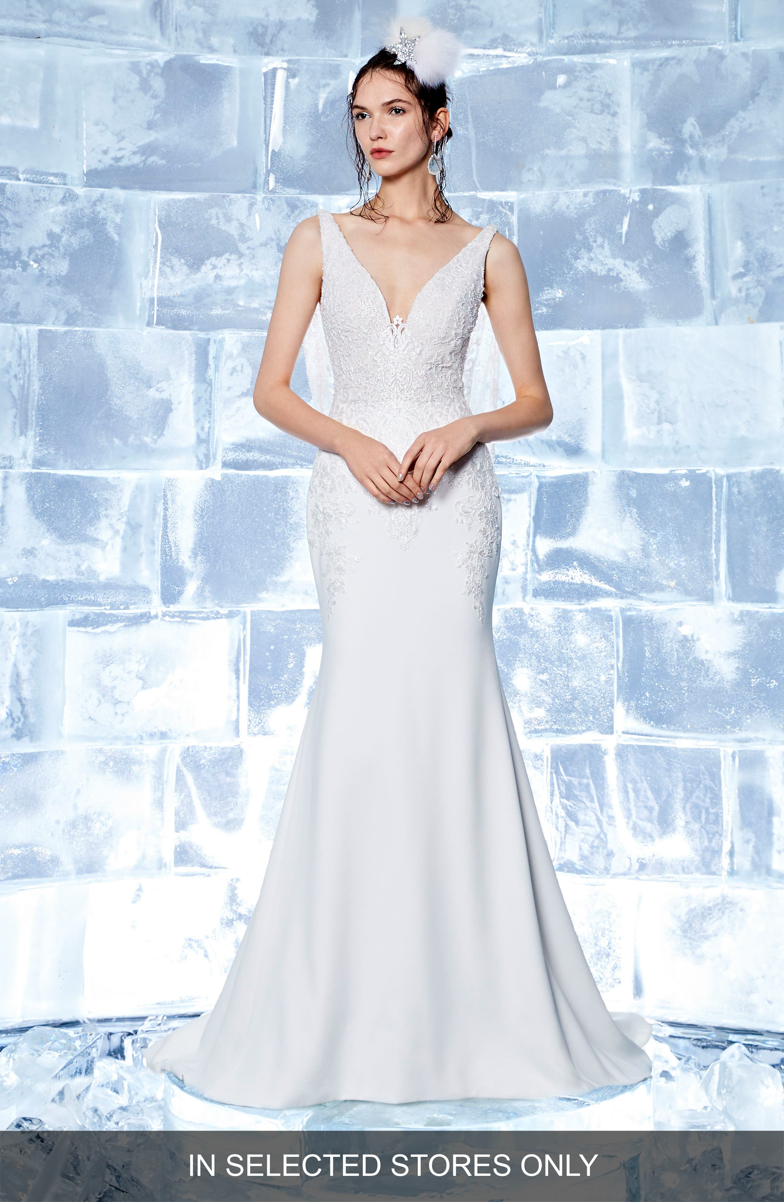 Holly Embroidered Trumpet Gown,                         Main,                         color, Off White/ Soft Nude