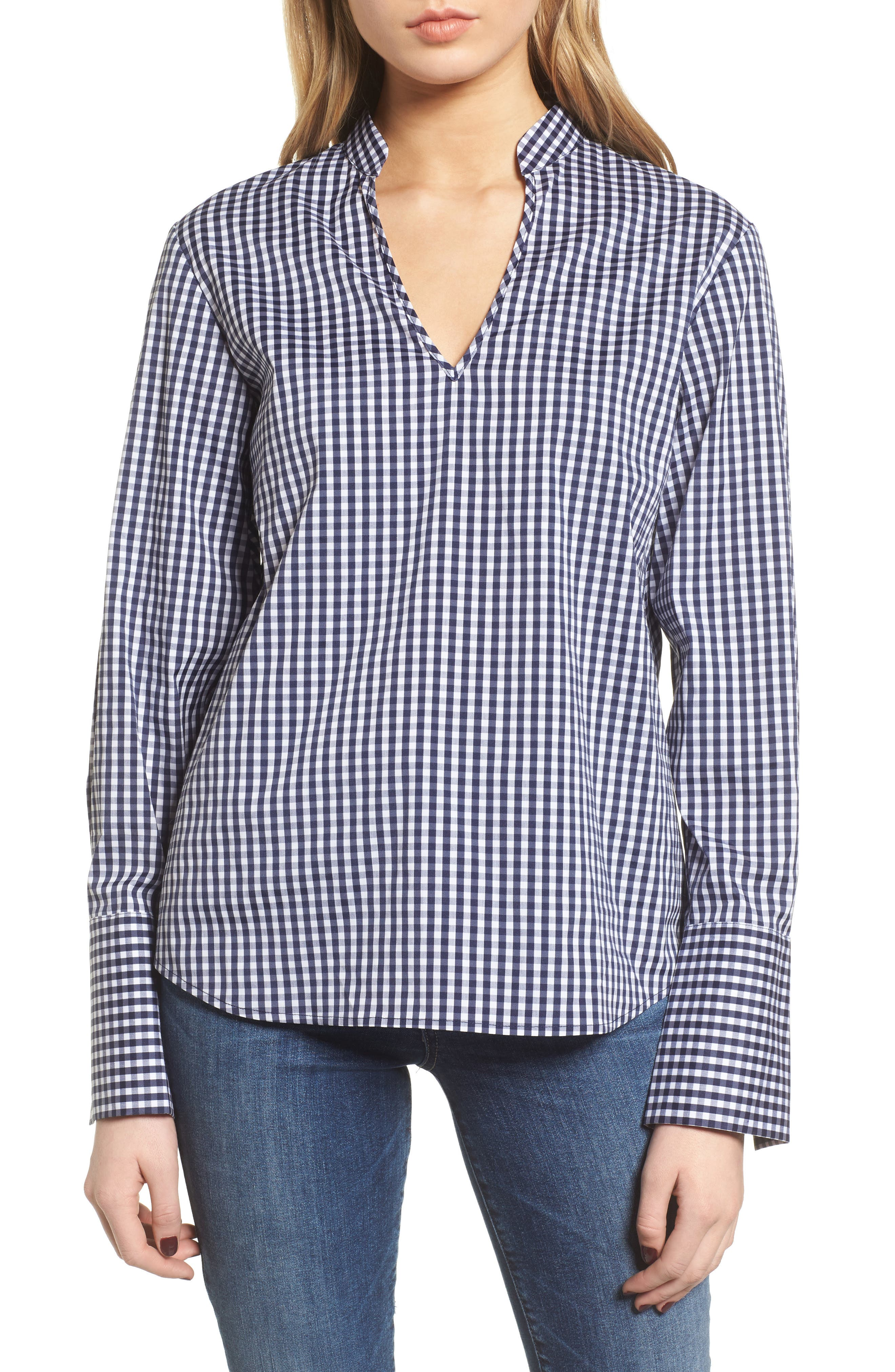 Gingham Open Back Top,                             Main thumbnail 1, color,                             Navy Evening/ White Gingham