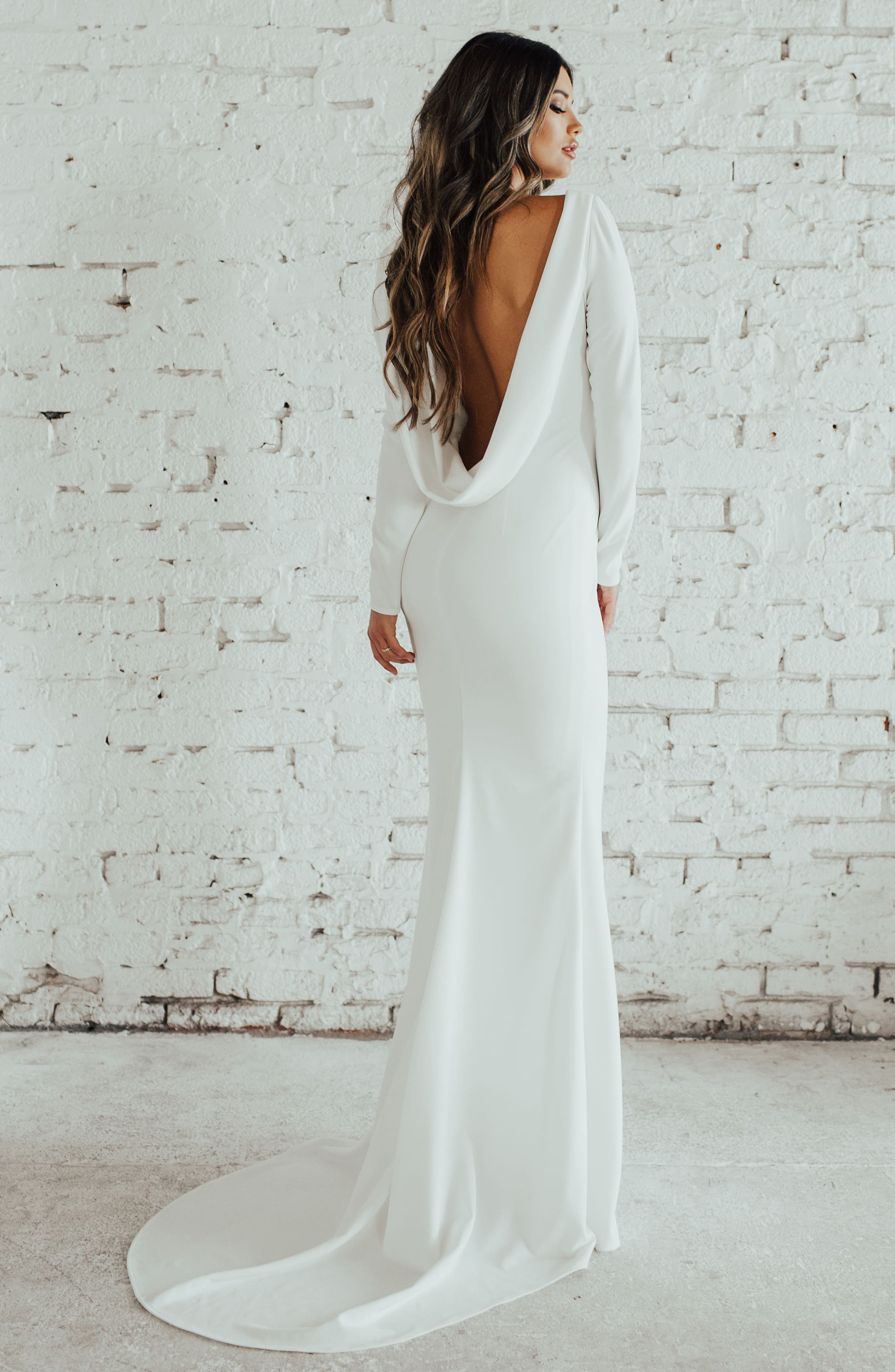 Cowl Back Crepe Gown,                             Alternate thumbnail 7, color,                             Ivory