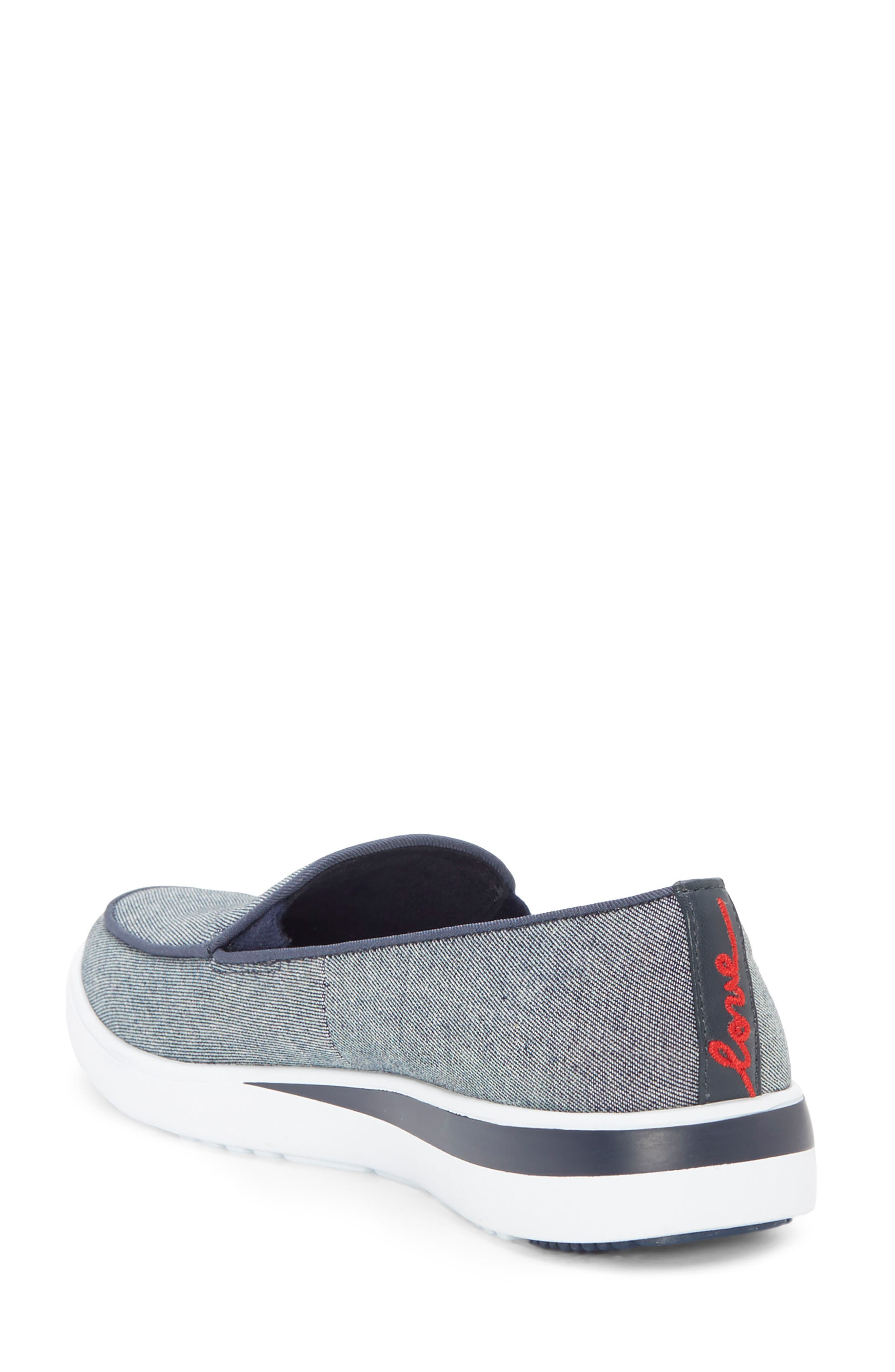 Antona Slip-On Sneaker,                             Alternate thumbnail 2, color,                             Blue Fabric