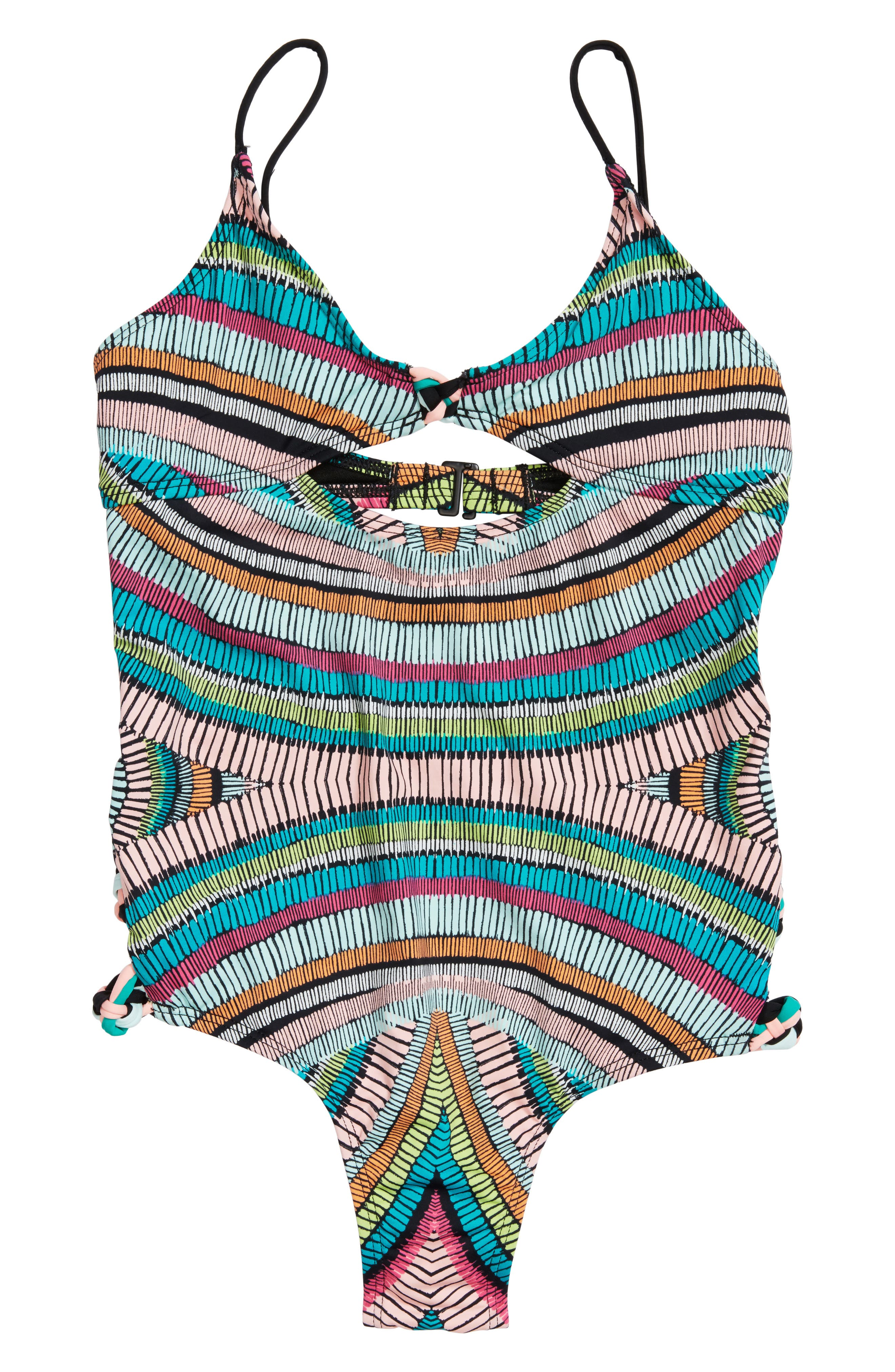 Weave Rider One-Piece Swimsuit,                         Main,                         color, Multi