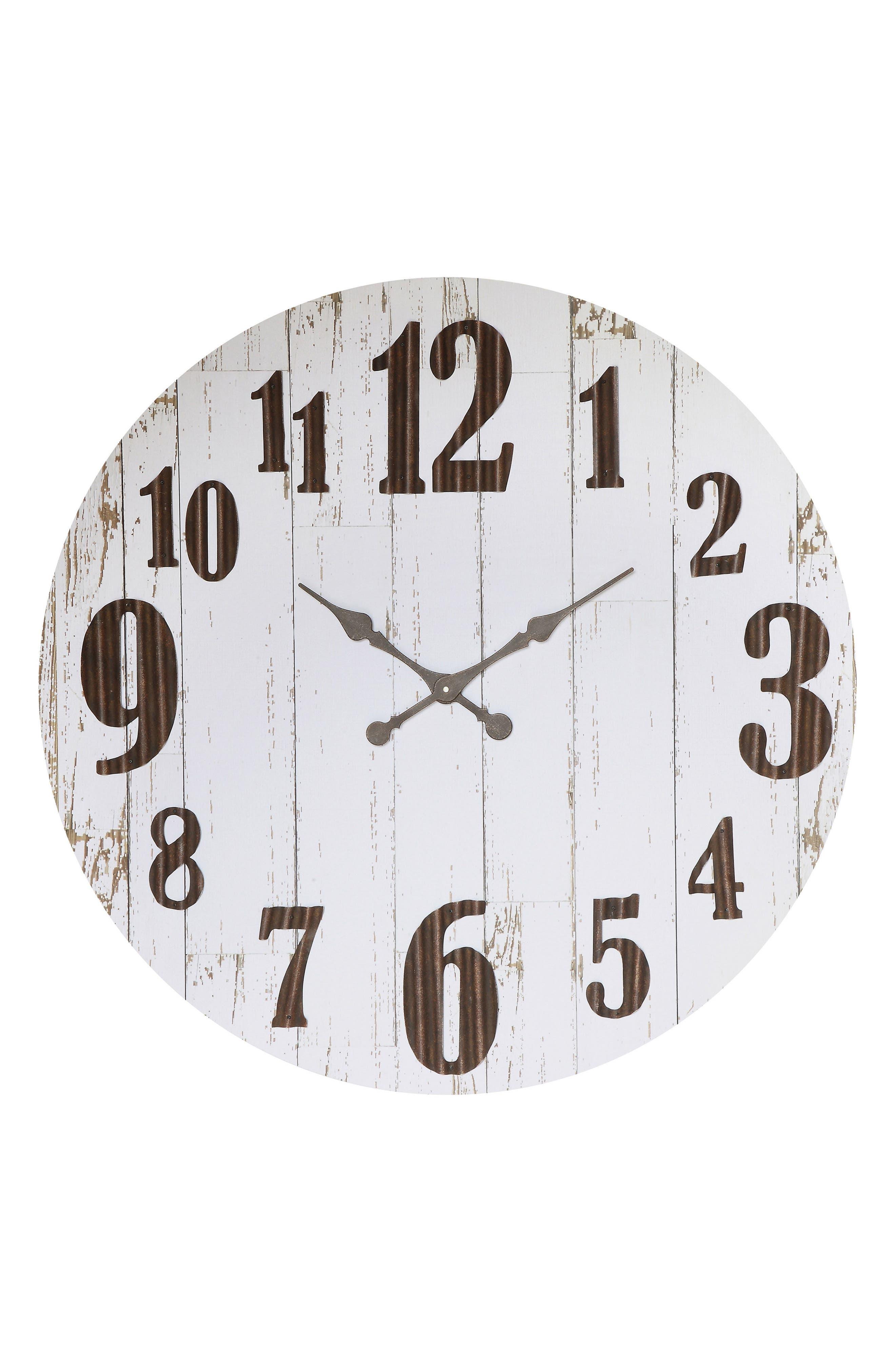 Large Wall Clock,                             Main thumbnail 1, color,                             White