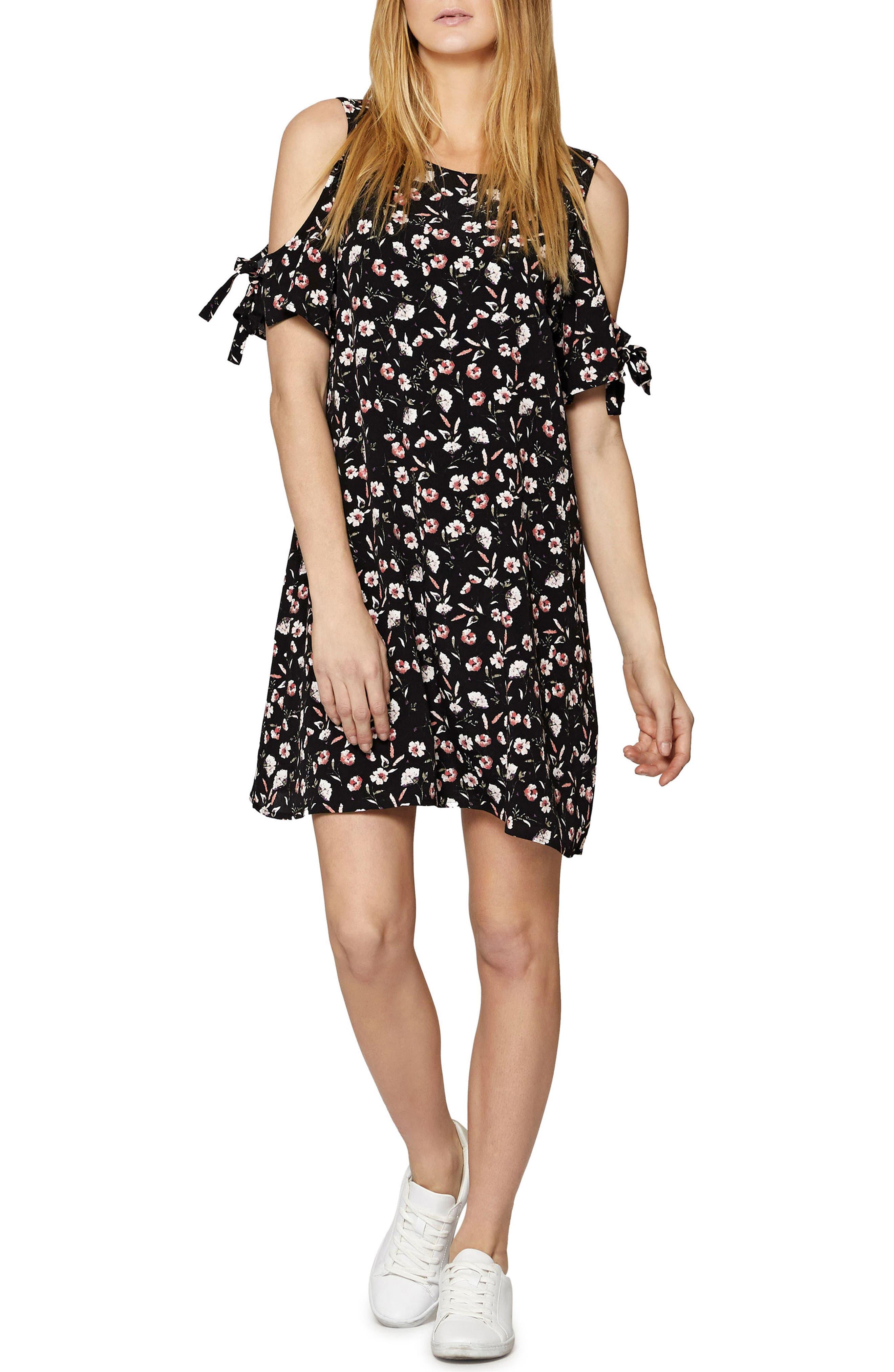 Valencia Cold Shoulder Floral Dress,                         Main,                         color, Chelsea Flower