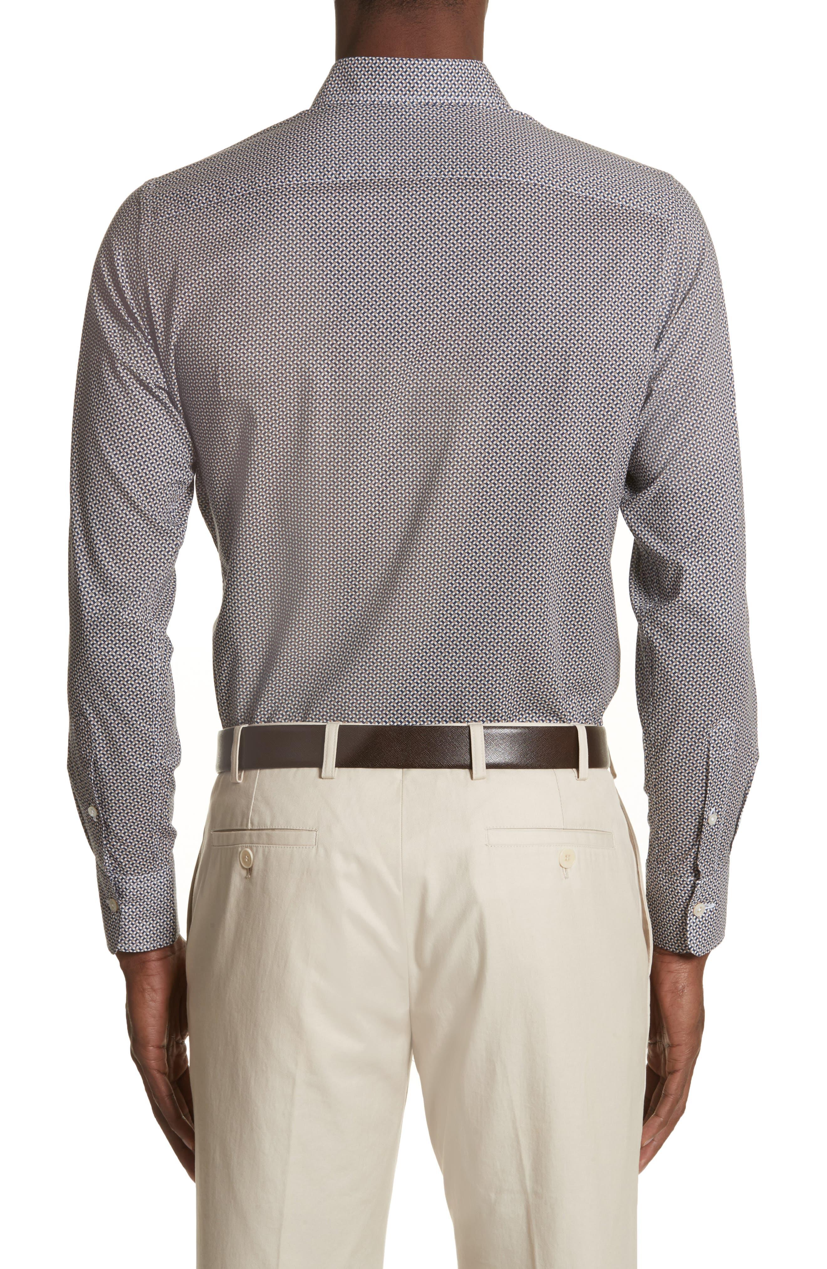 Regular Fit Print Sport Shirt,                             Alternate thumbnail 3, color,                             Dark Beige