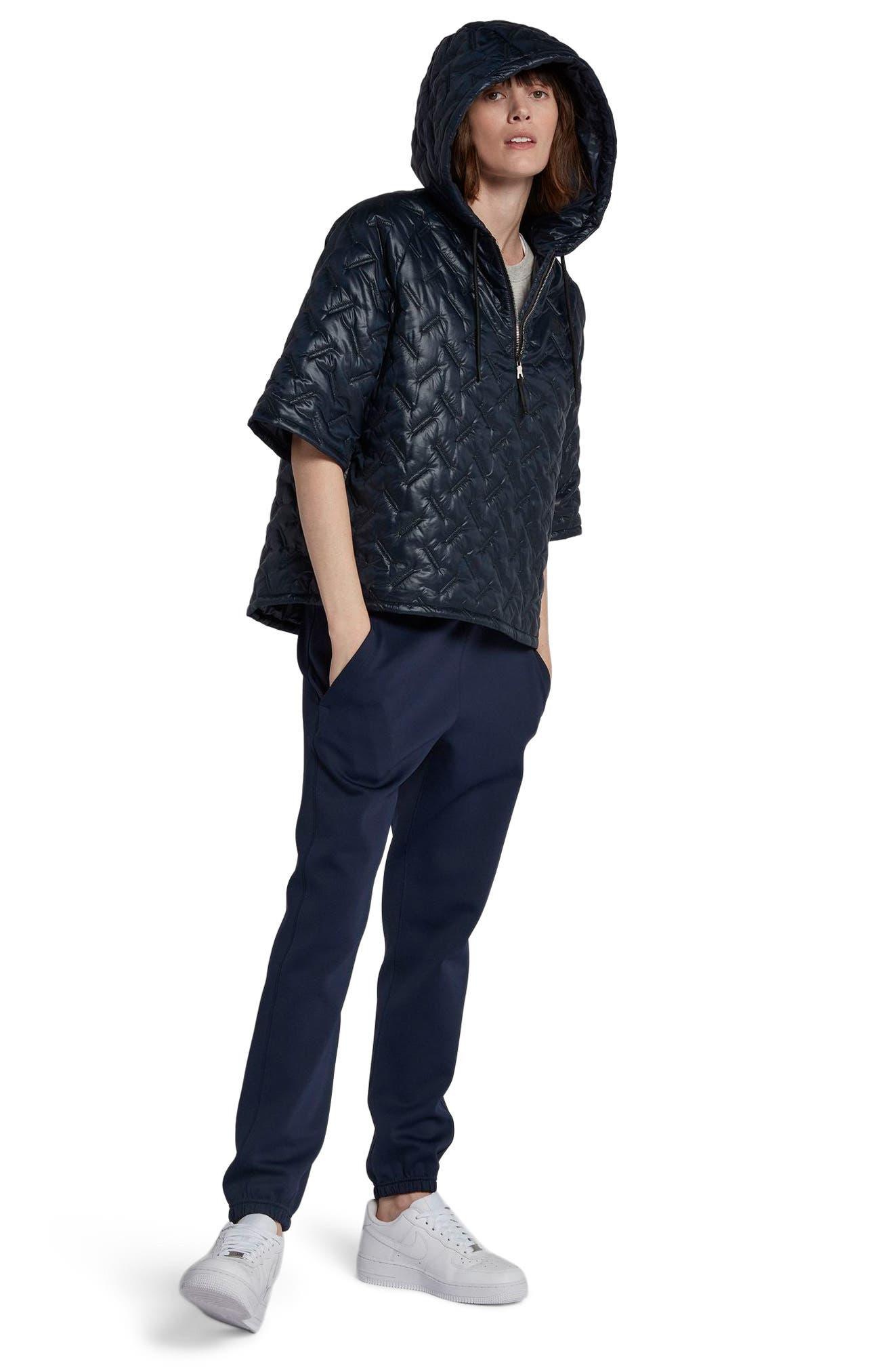 NikeLab Essentials Insulated Short Sleeve Women's Hoodie,                             Alternate thumbnail 11, color,                             Dark Obsidian/ Black