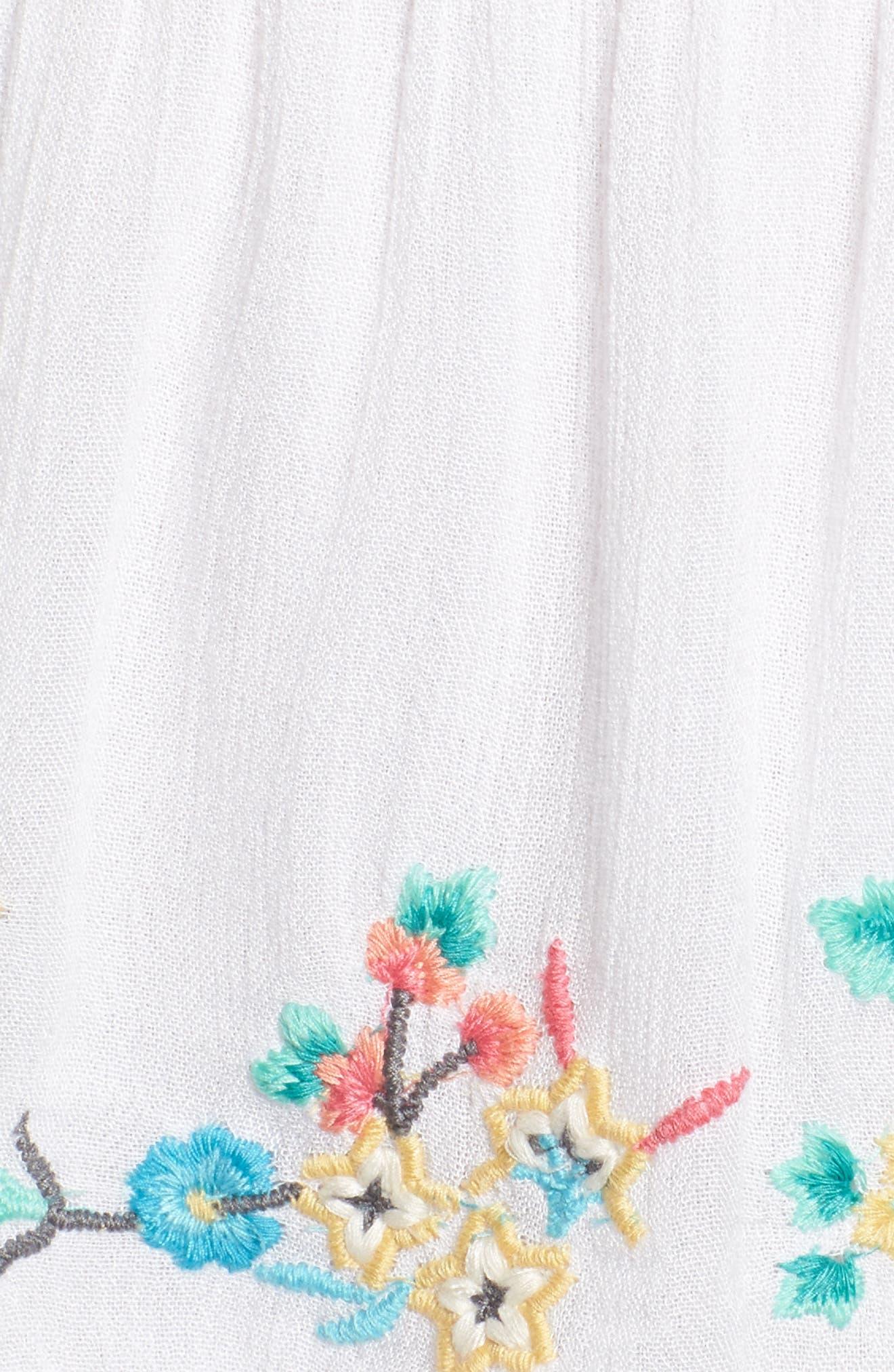Ashlyn Embroidered Off the Shoulder Minidress,                             Alternate thumbnail 6, color,                             Eggshell