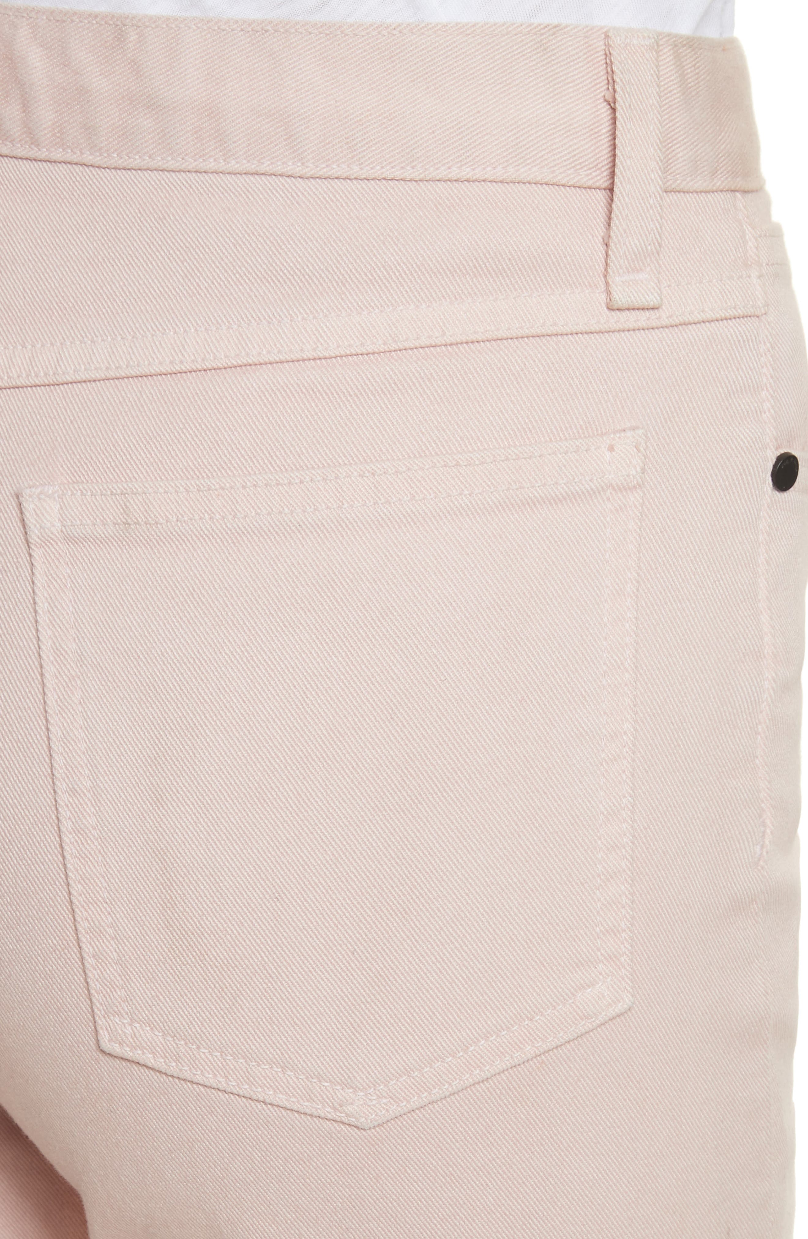 Justine High Waist Trouser Jeans,                             Alternate thumbnail 4, color,                             Blush Twill